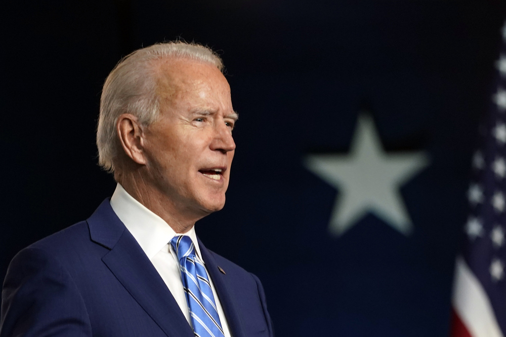 Democratic presidential candidate former Vice President Joe Biden speaks Wednesday, Nov. 4, 2020, in Wilmington, Del.