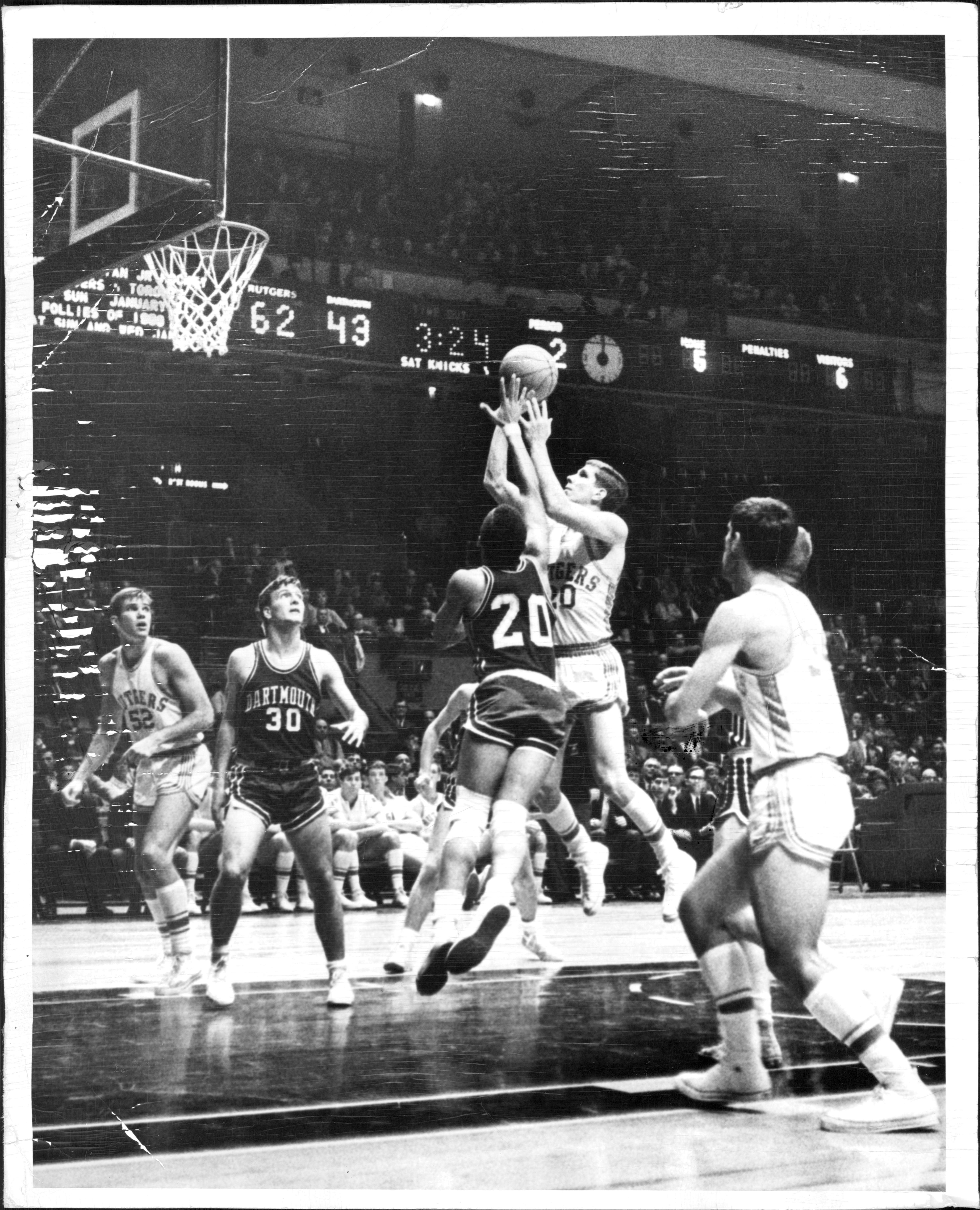 College Basketball Players - Rutgers University Lou Goetz (#20 in white) and Dartmouth College Henry Tyson (#20)