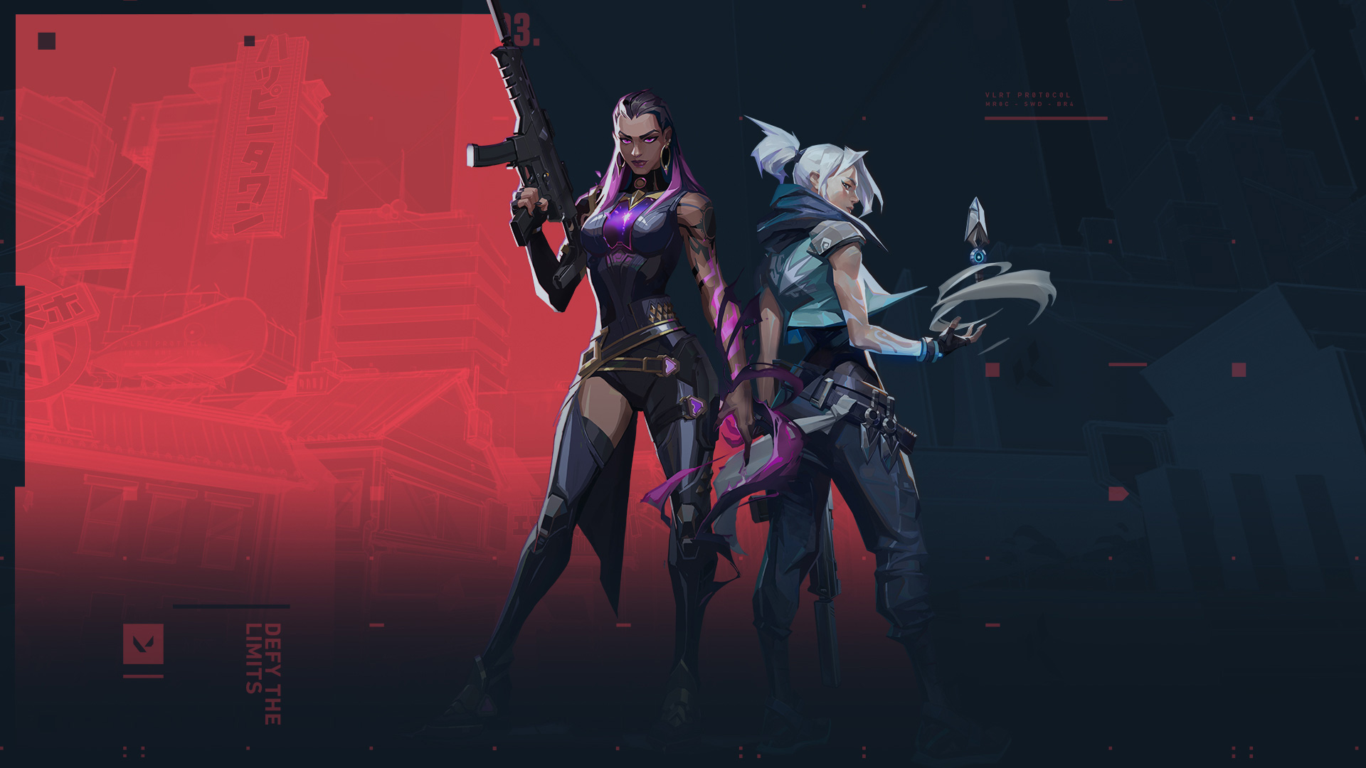 Jett and Reyna stand posed against the Valorant symbol