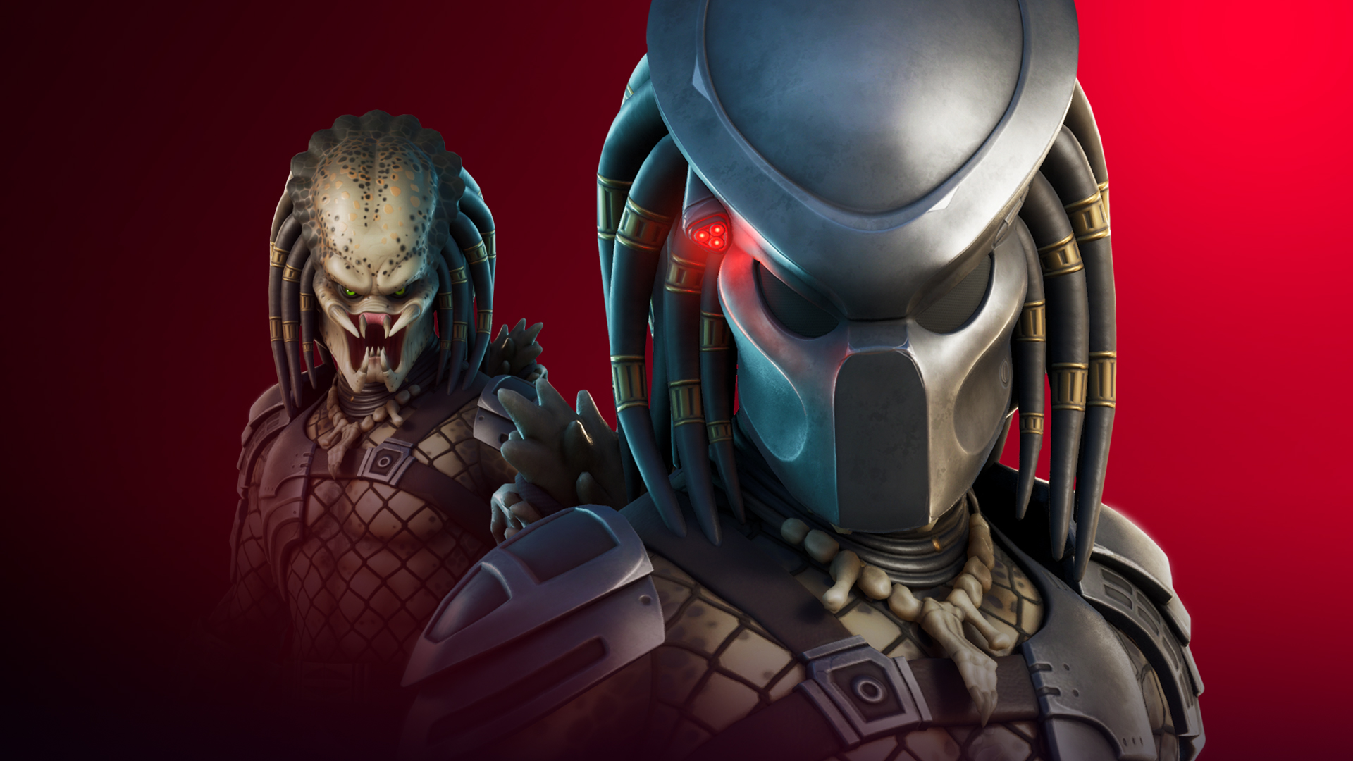 Artwork of The Predator (with mask and without) from Fortnite