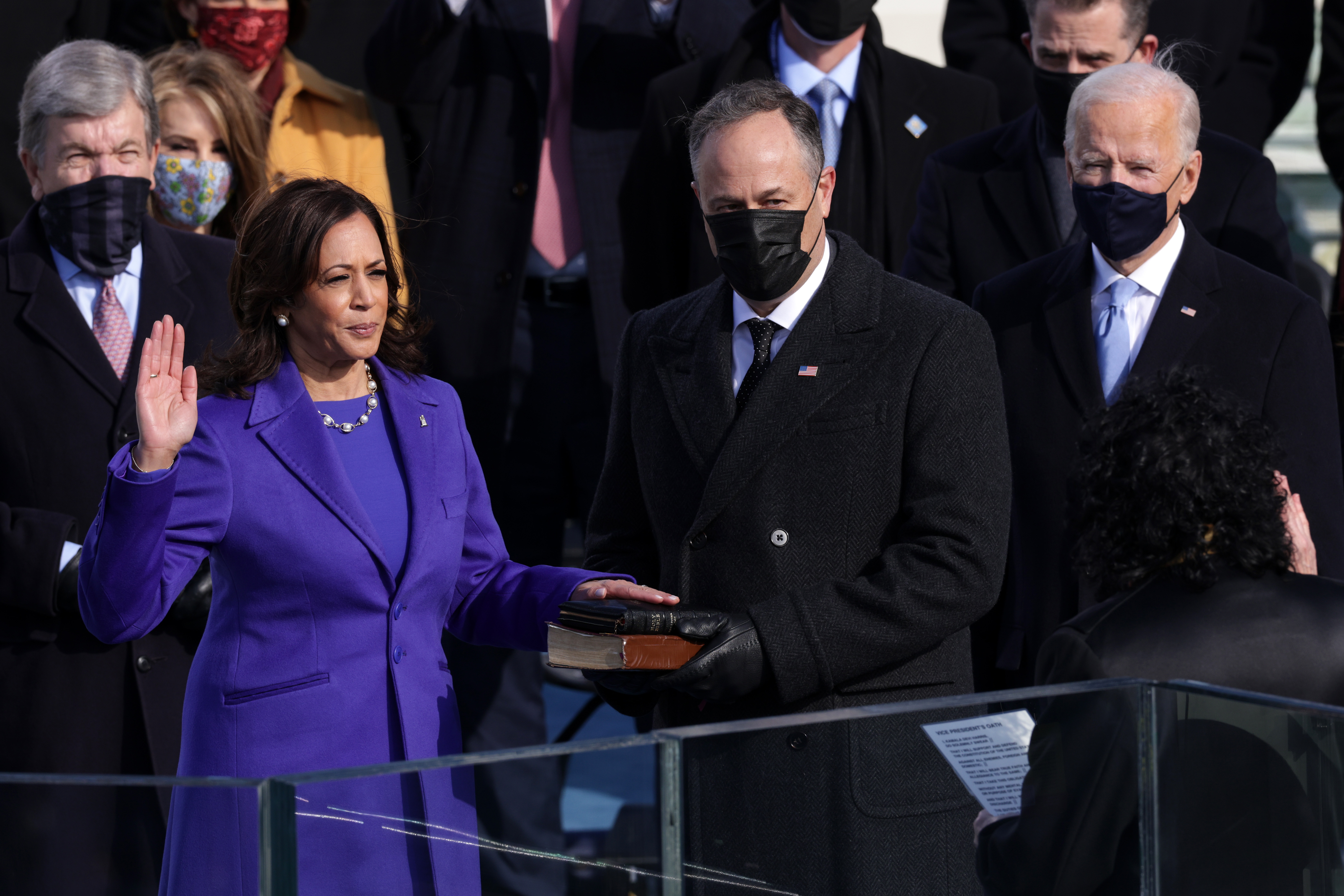 Kamala Harris is sworn in as U.S. Vice President as her husband Doug Emhoff looks on at the inauguration of U.S. President-elect Joe Biden on the West Front of the U.S. Capitol on January 20, 2021 in Washington, DC.