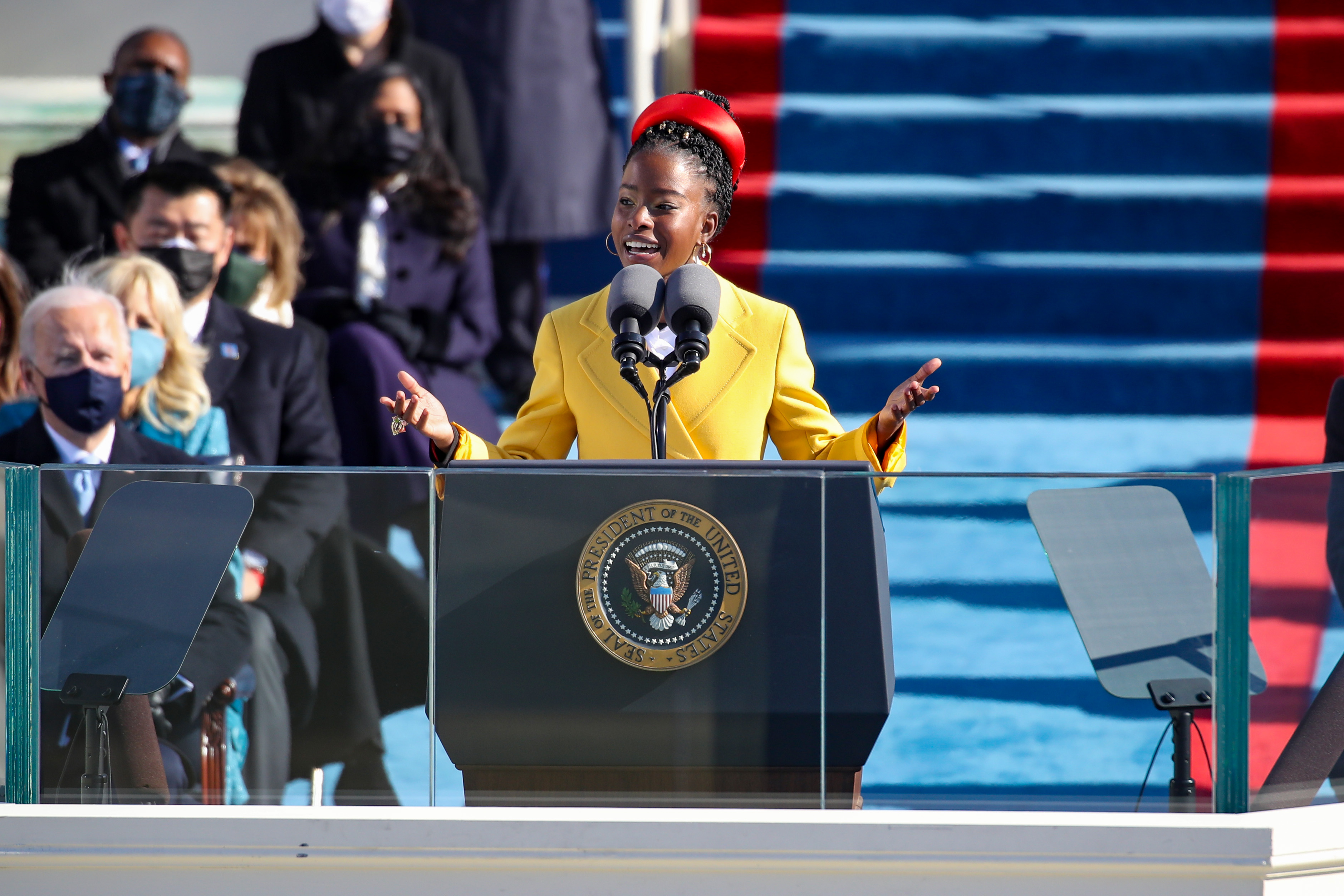 WASHINGTON, DC - JANUARY 20: Youth Poet Laureate Amanda Gorman speaks at the inauguration of U.S. President Joe Biden on the West Front of the U.S. Capitol on January 20, 2021 in Washington, DC. During today's inauguration ceremony Joe Biden becomes the 46th president of the United States. (Photo by Rob Carr/Getty Images) ORG XMIT: 775612666