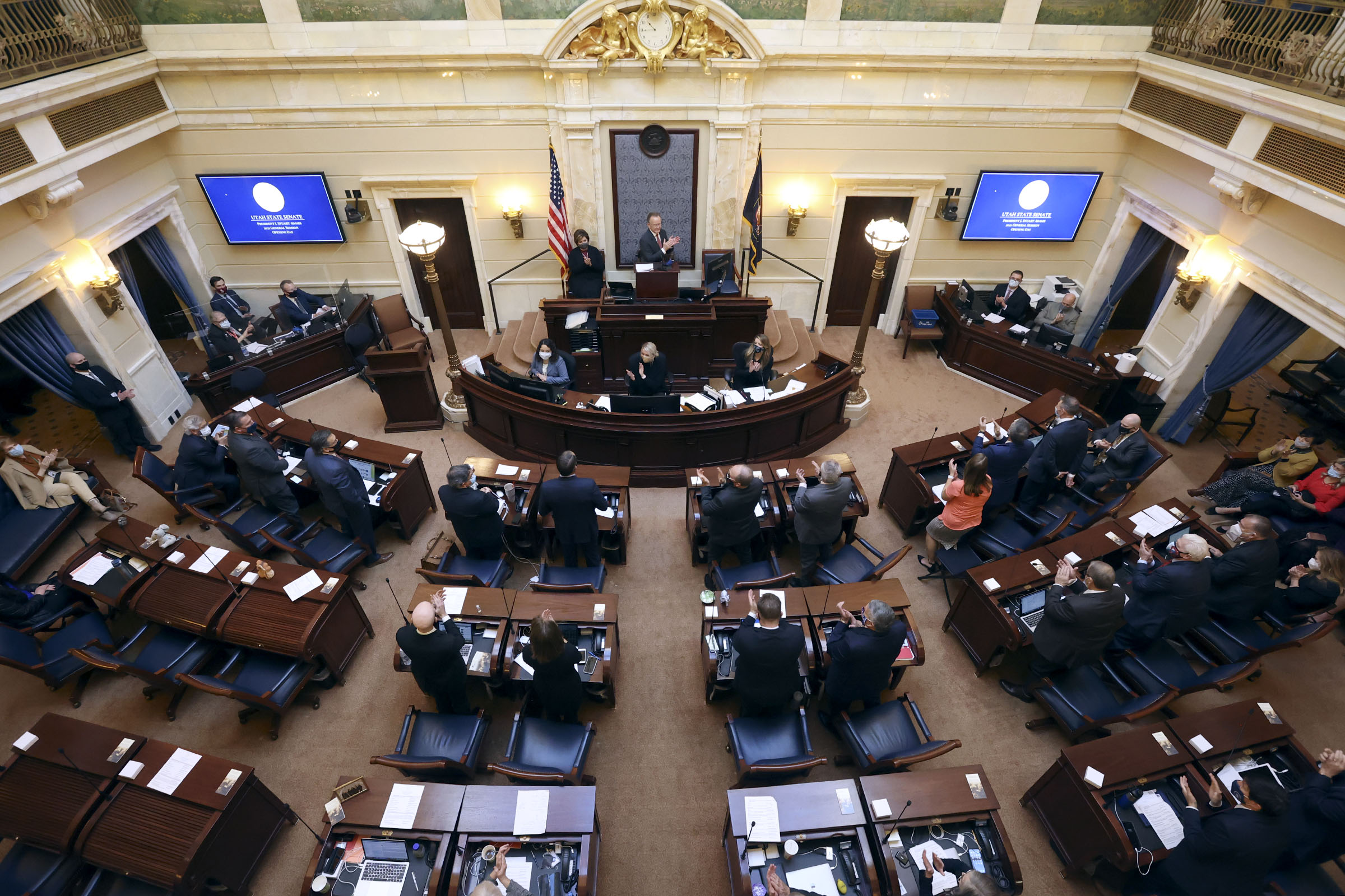 Senate President Stuart Adams, R-Layton, opens the Utah Legislature's2021 general session in the Senate chamber at the Capitol in Salt Lake City on Tuesday, Jan. 19, 2021.