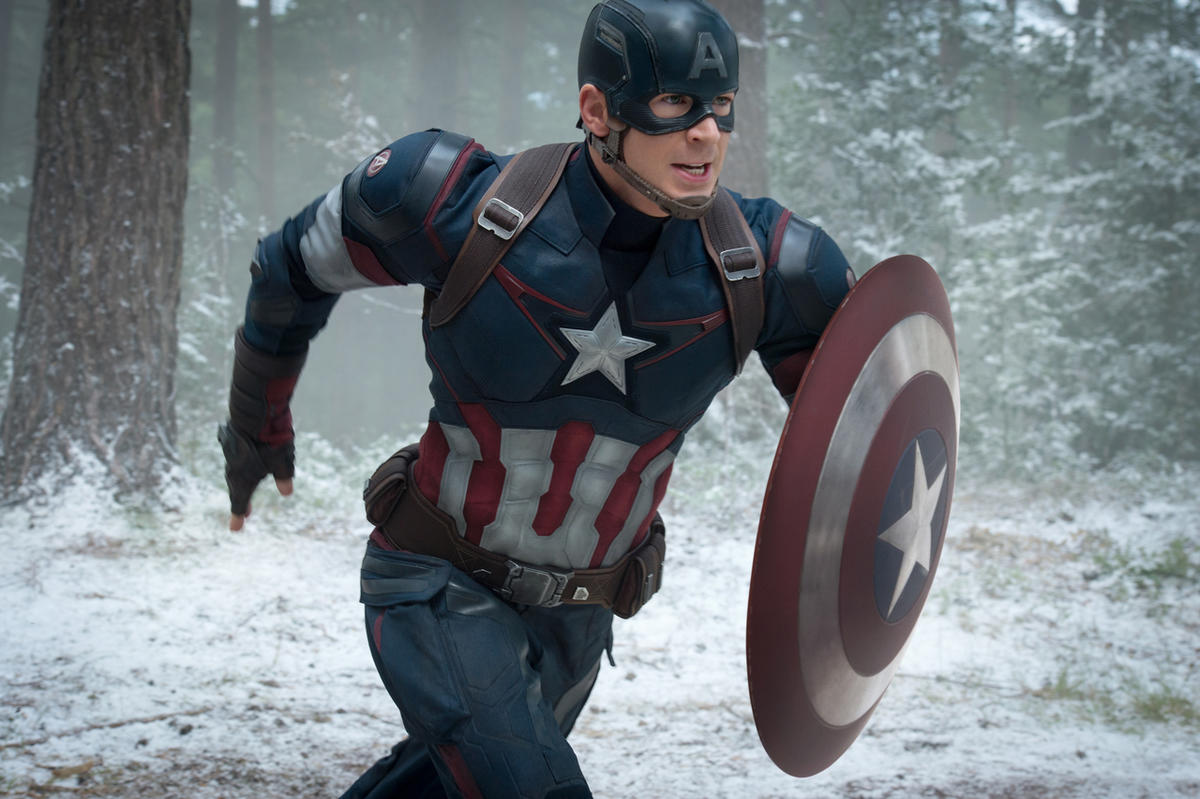 """This photo provided by Disney/Marvel shows, Chris Evans as Captain America/Steve Rogers, in the new film, """"Avengers: Age Of Ultron."""" The movie releases in U.S. theaters on May 1, 2015."""