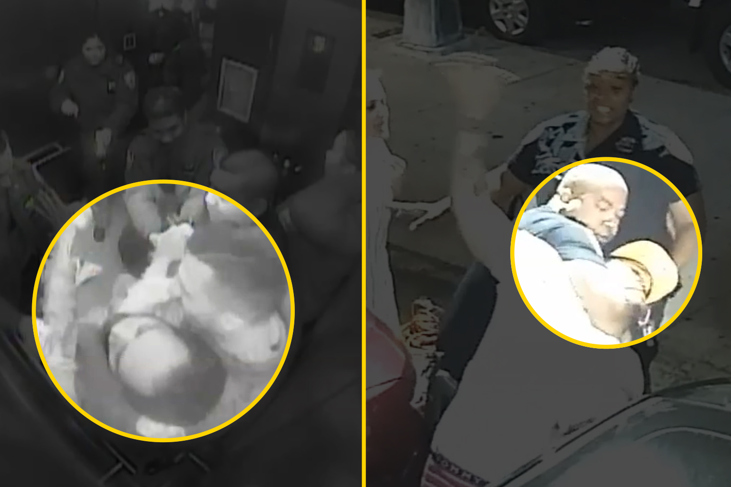 Videos obtained by ProPublica and THE CITY show Detective Manuel Cordova, top left, Officer Omar Habib, right, and Detective Fabio Nunez, bottom left, using chokeholds.