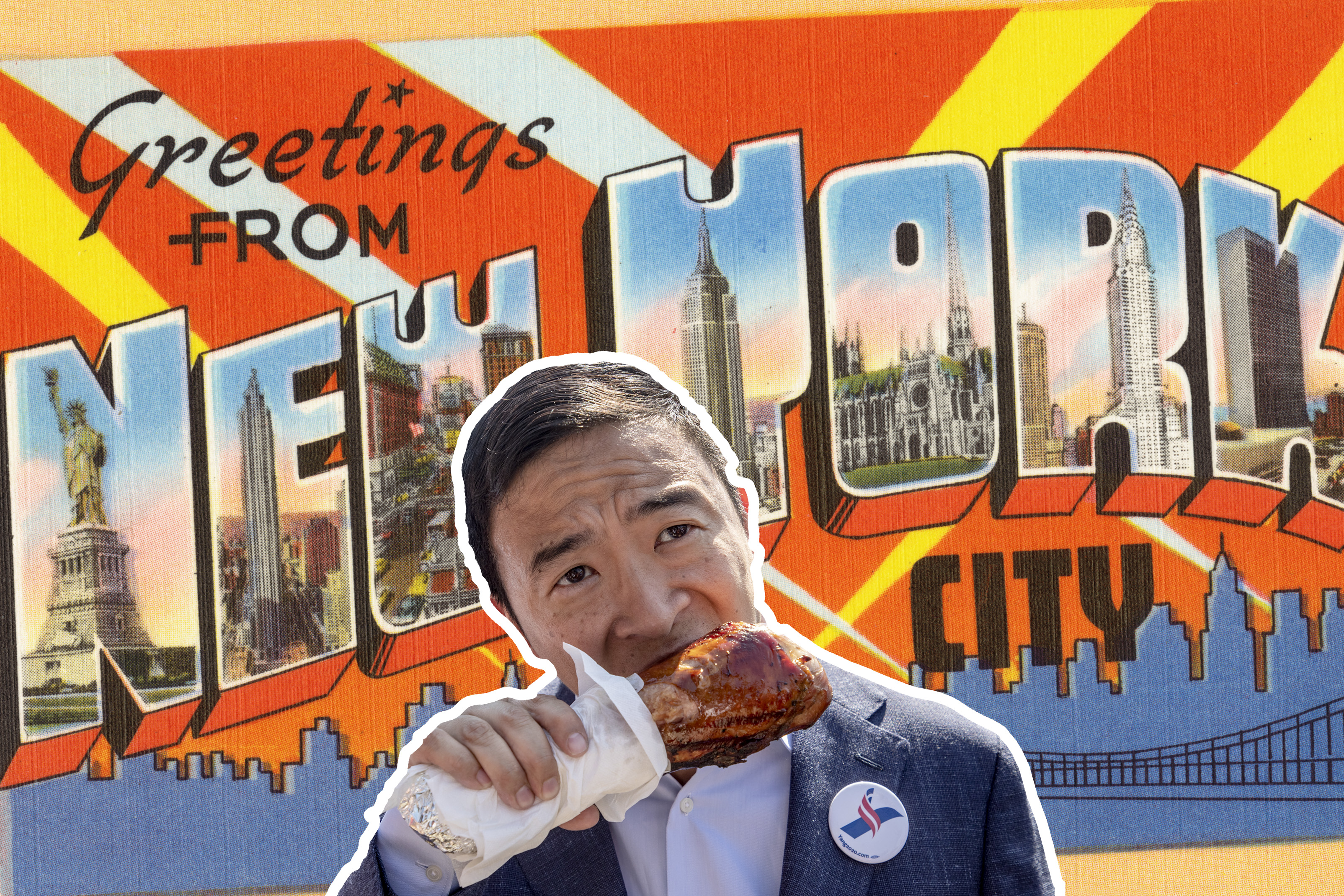 """Andrew Yang eats a turkey leg in front of a backdrop that says """"Greetings from New York City"""""""