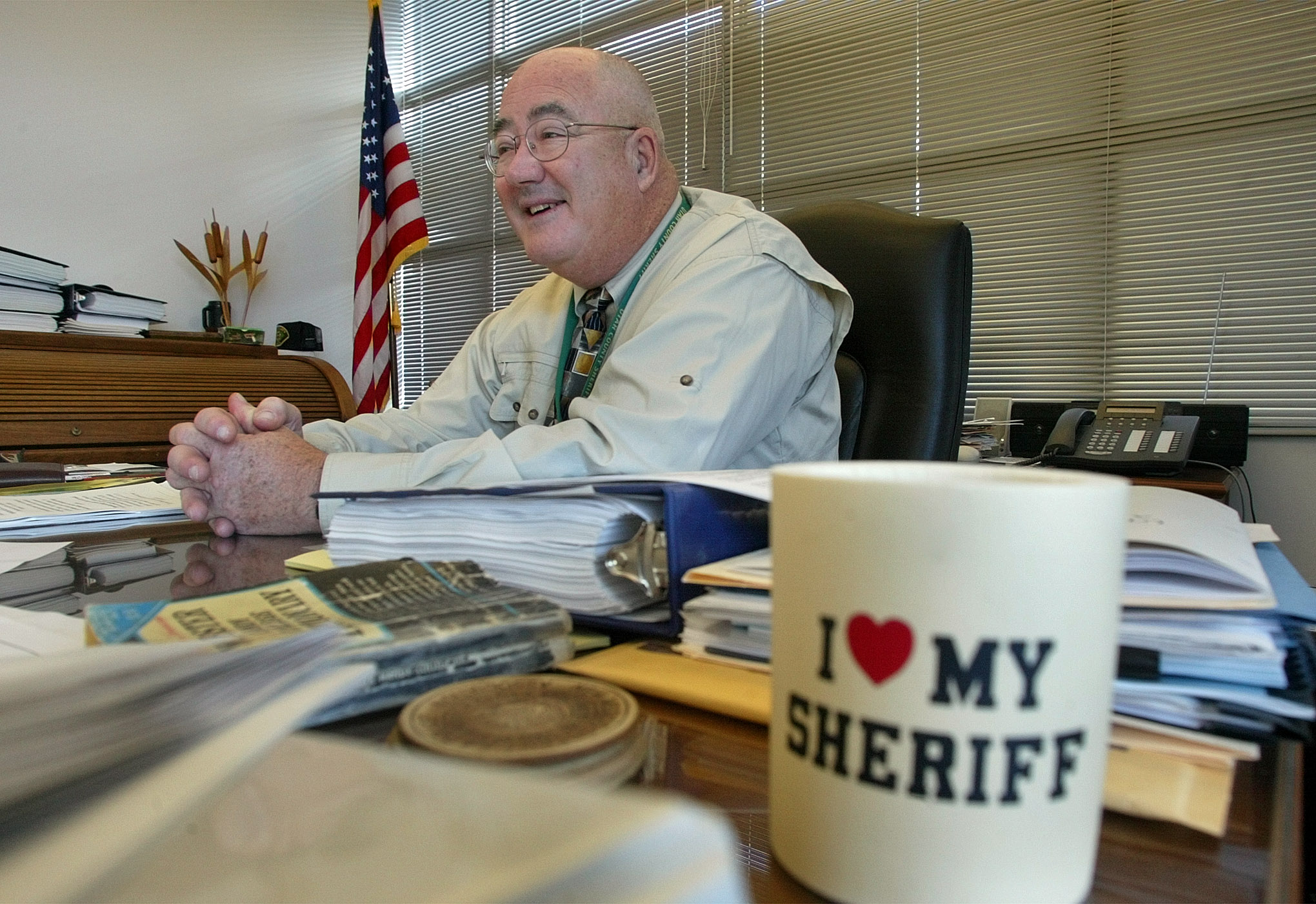 Utah County Sheriff Dave Bateman in his office talks about his years as sheriff and in law inforcement. Sheriff Bateman will be retiring in January. Oct. 24, 2002. PHOTO BY STUART JOHNSON. (Submission date: 10/24/2002)