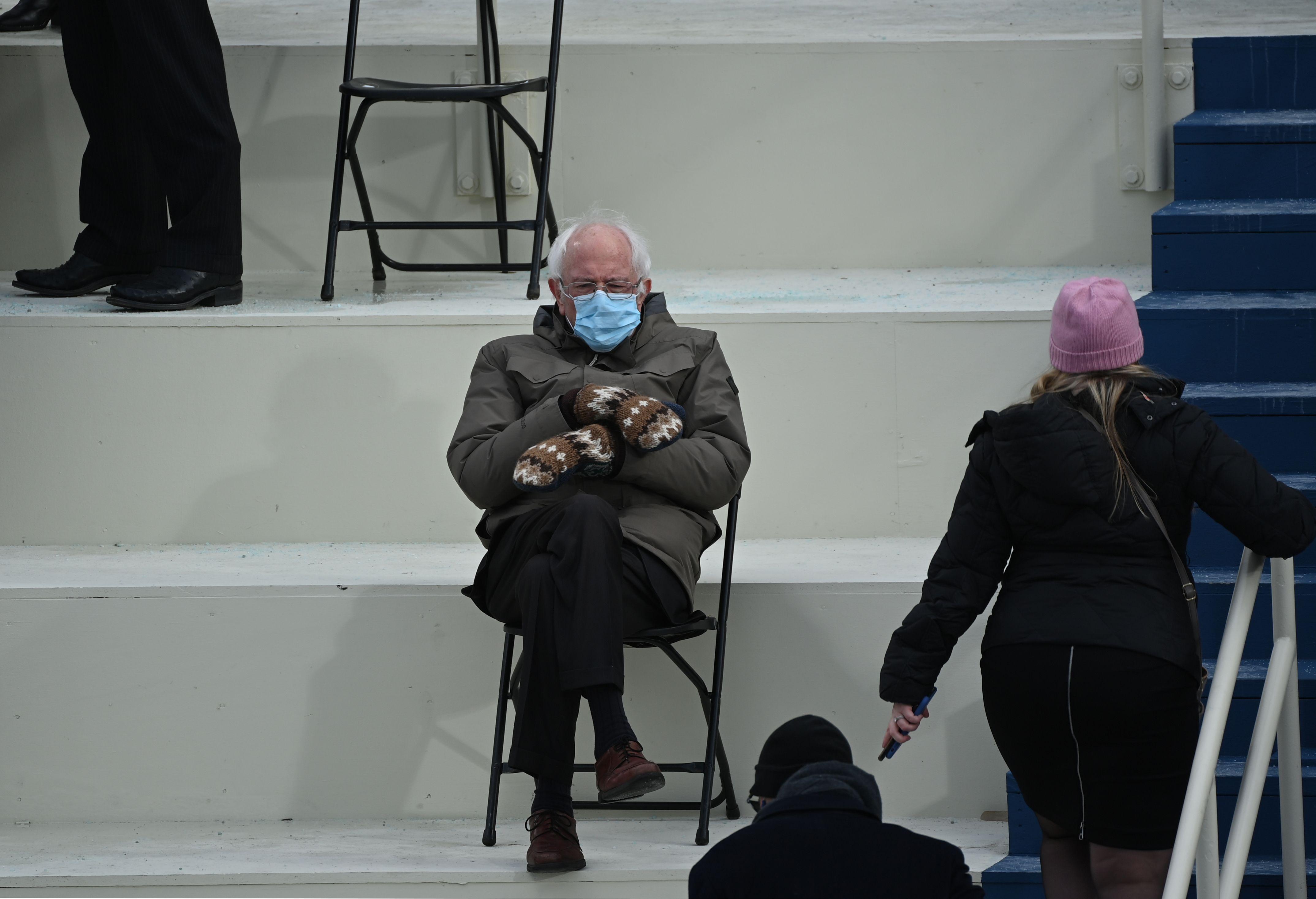 Sen. Bernie Sanders waiting at Capitol Hill ahead of Joe Biden's inauguration