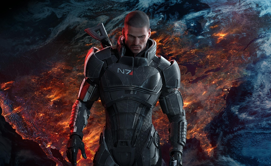Shepard from Mass Effect, walking in front of the a boiling planetary surface.