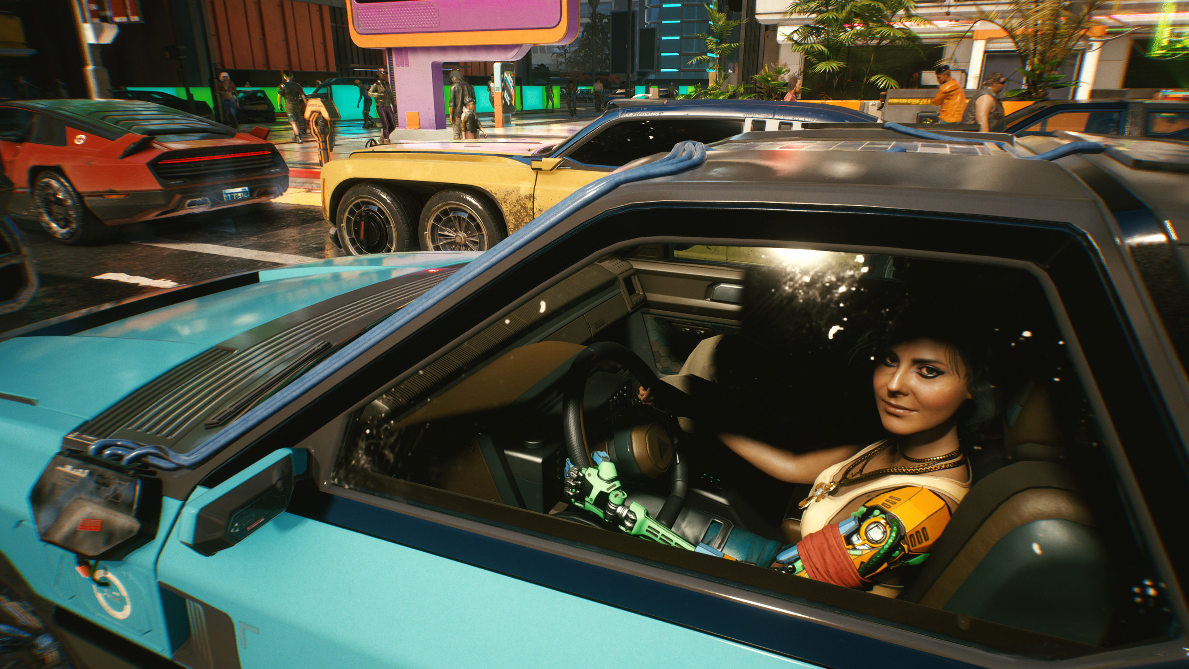 Driving a car in Cyberpunk 2077