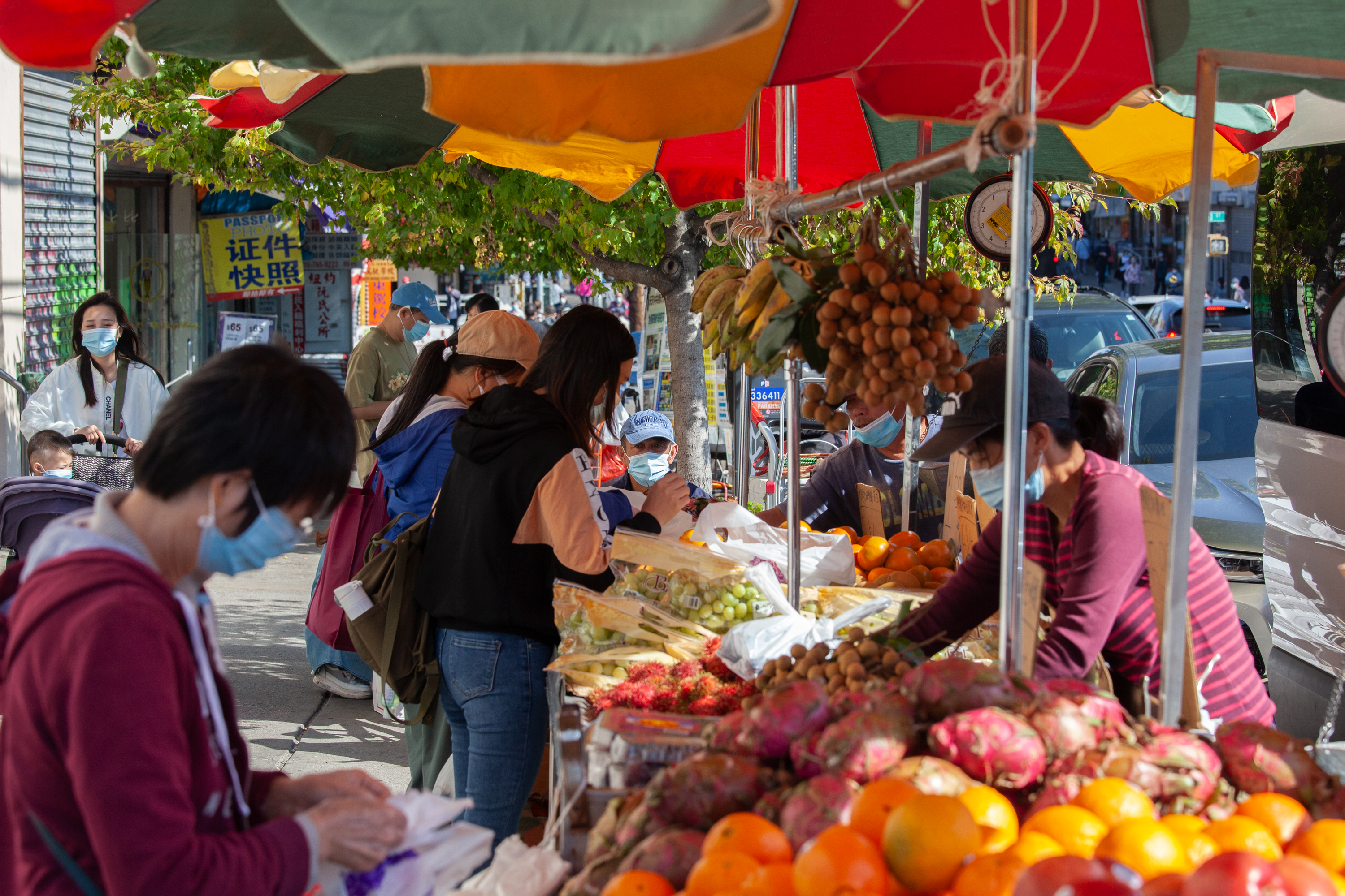 Street vendors sell produce in Sunset Park, Brooklyn, Oct. 7, 2020.