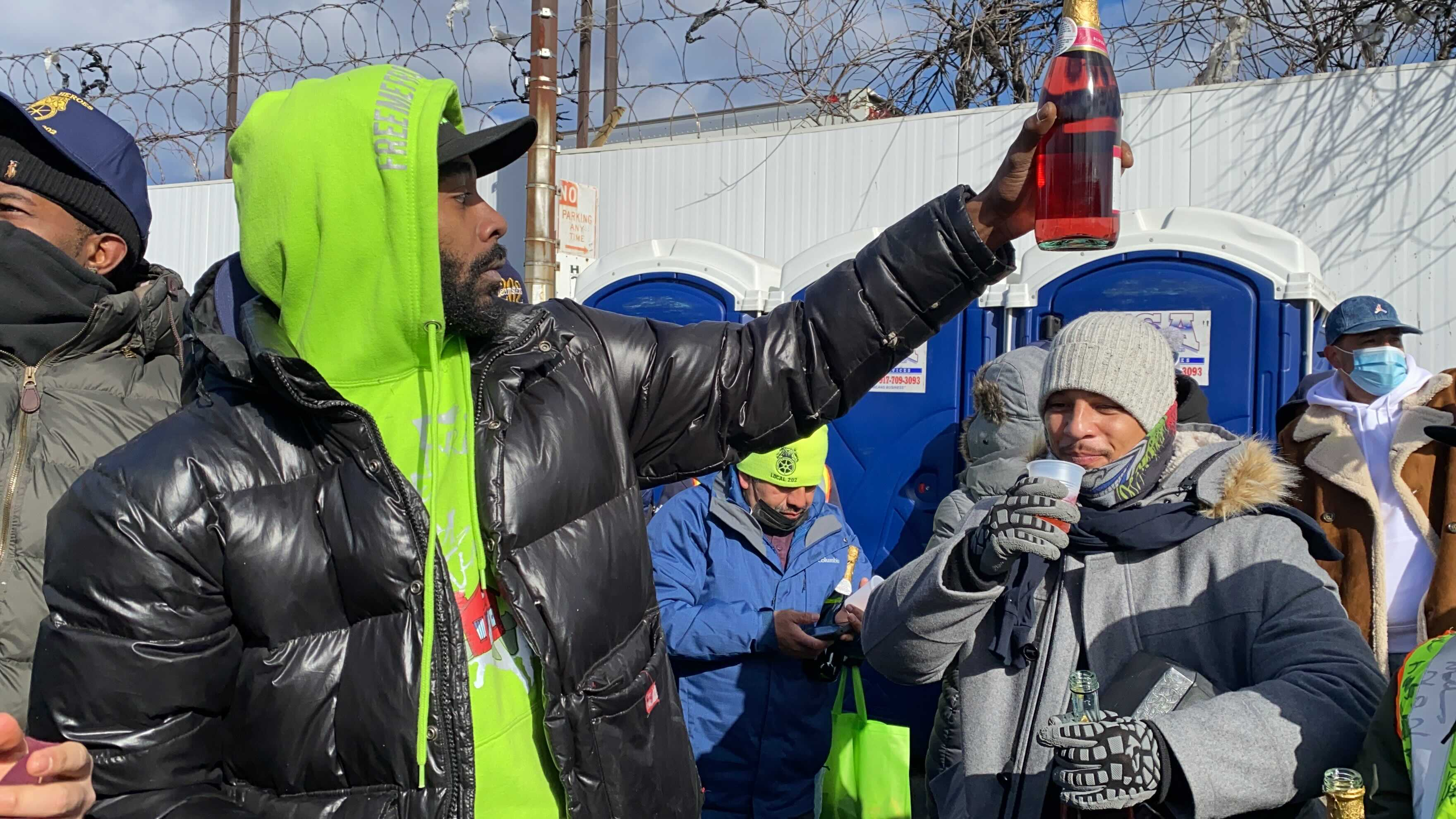 Hunts Point Produce Market workers celebrate the end of their strike, Jan. 24, 2021.