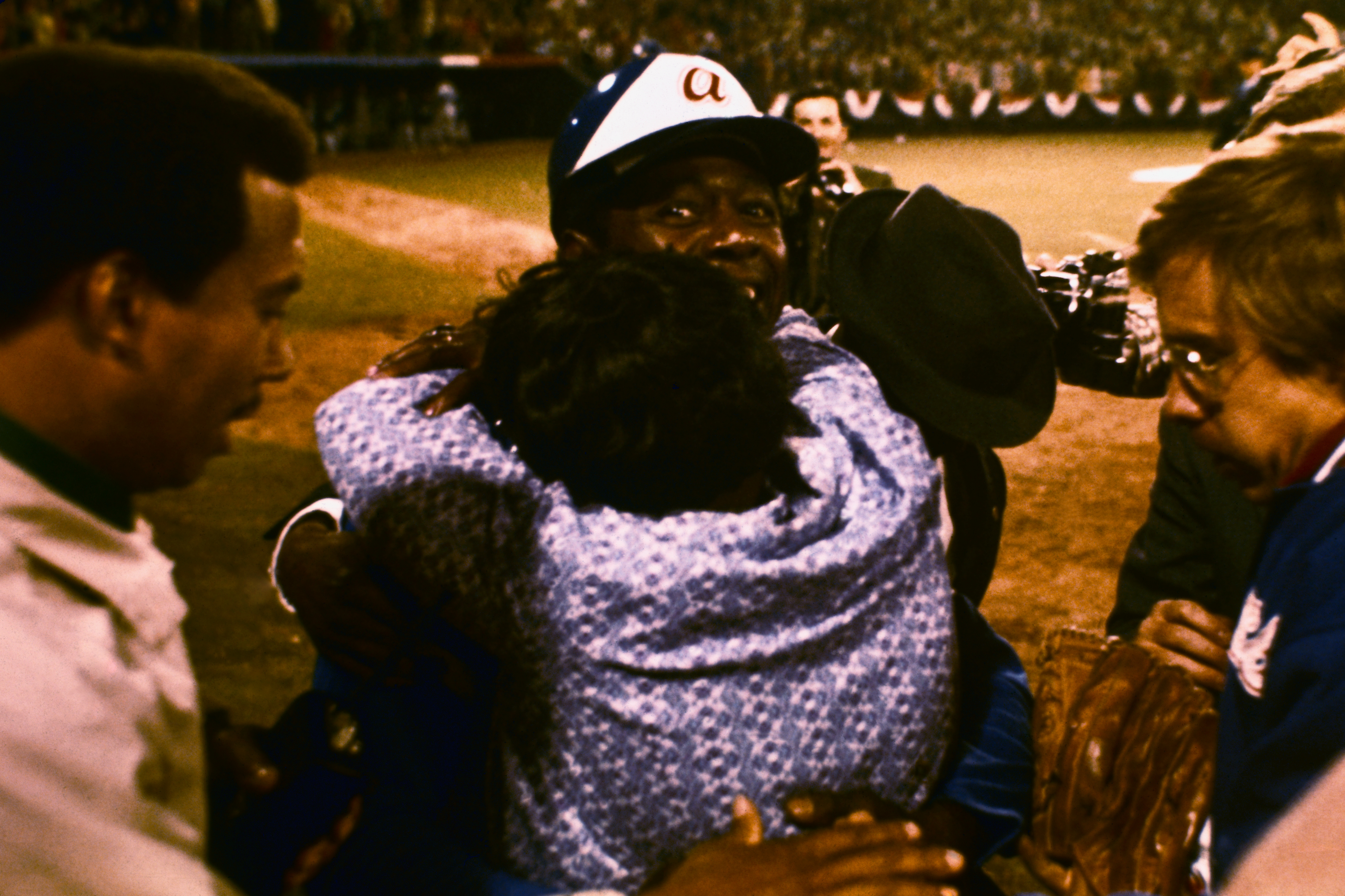 Hank Aaron Being Hugged by His Mother