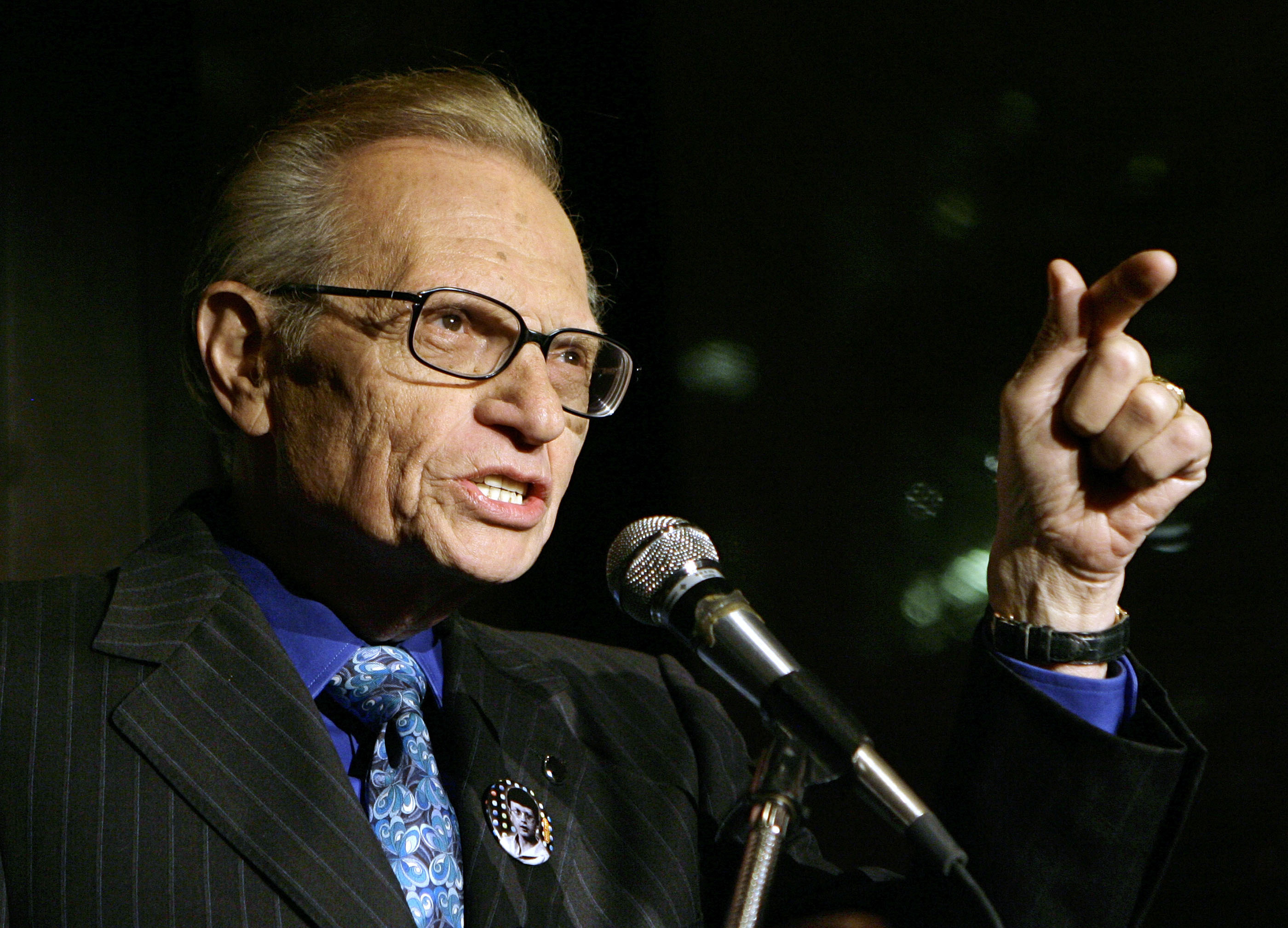In this April 18, 2007 file photo, Larry King speaks to guests at a party held by CNN, celebrating King's fifty years of broadcasting in New York.