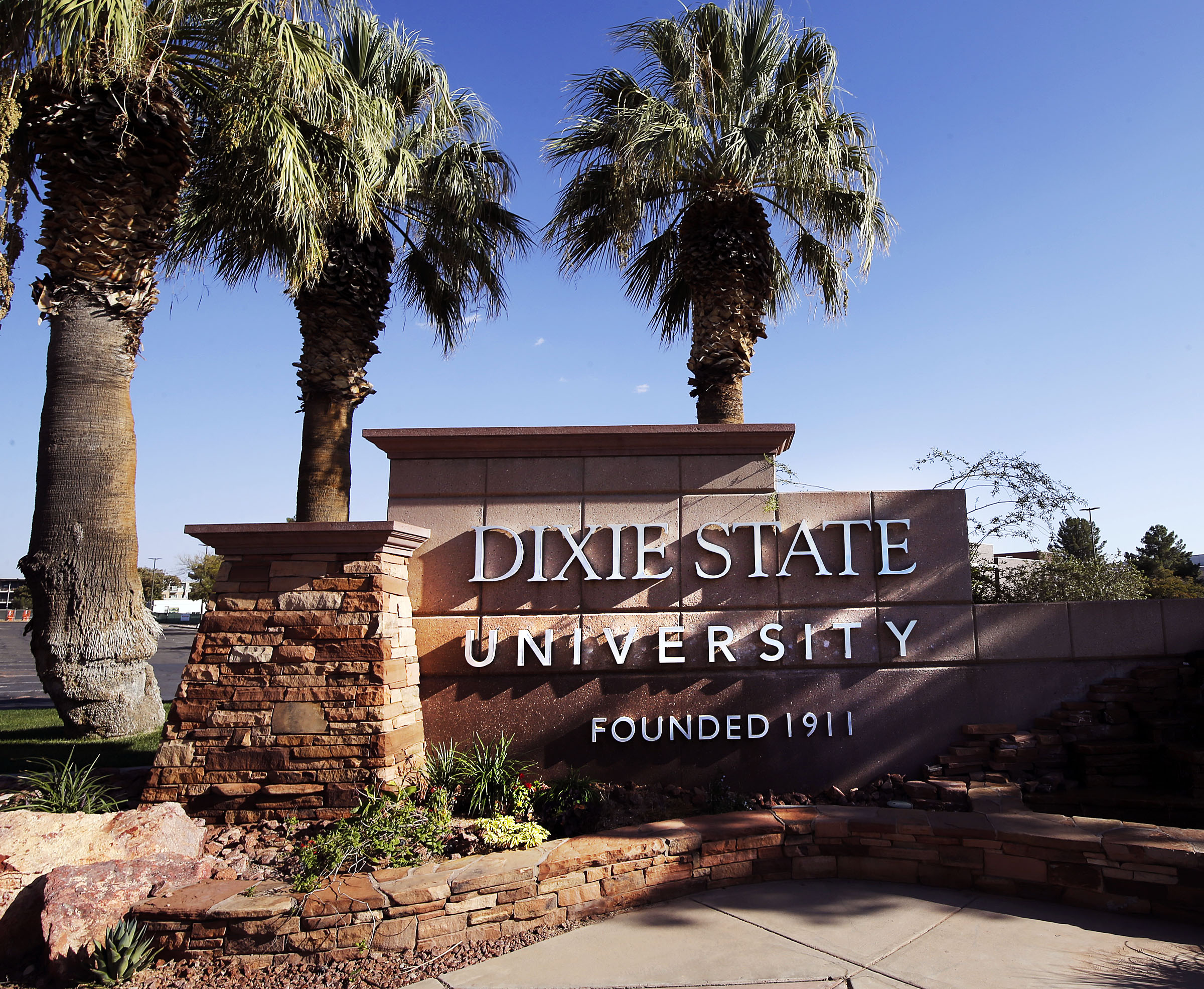 An entrance sign at Dixie State University is pictured in St. George on Sunday, Oct.11, 2020.