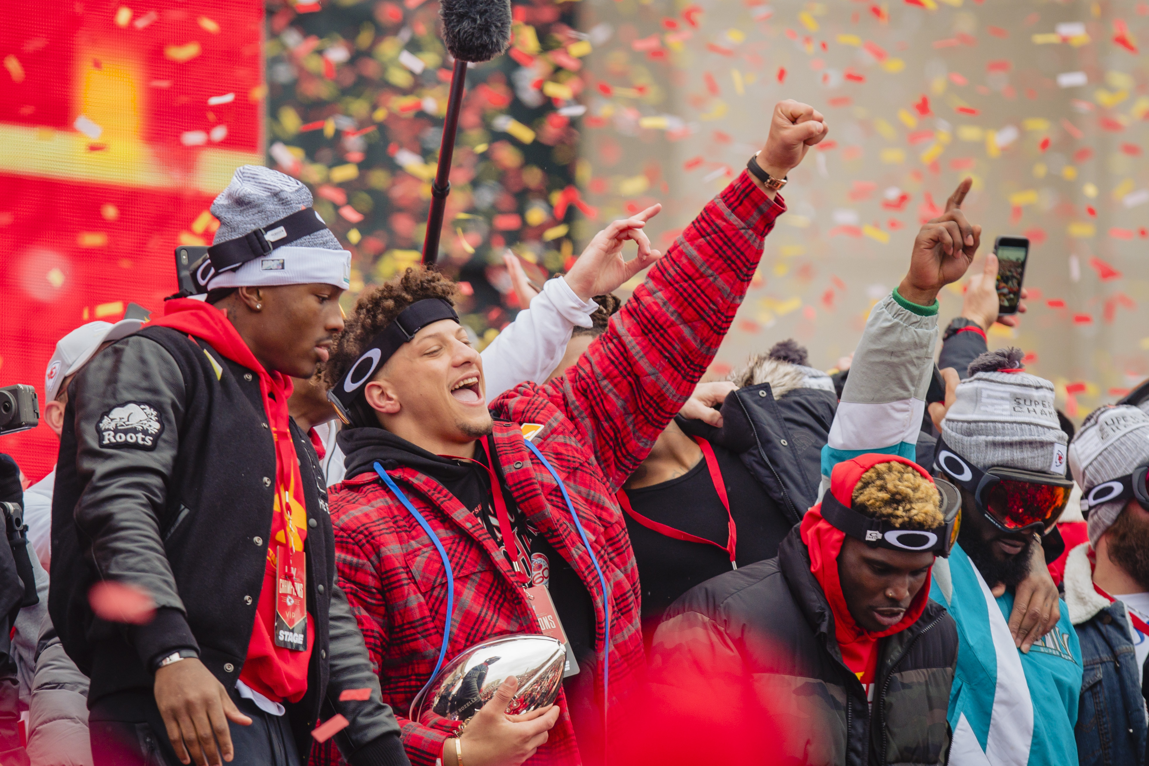 Patrick Mahomes #15 of the Kansas City Chiefs celebrates with the Super Bowl MVP trophy during the Kansas City Chiefs Victory Parade on February 5, 2020 in Kansas City, Missouri.