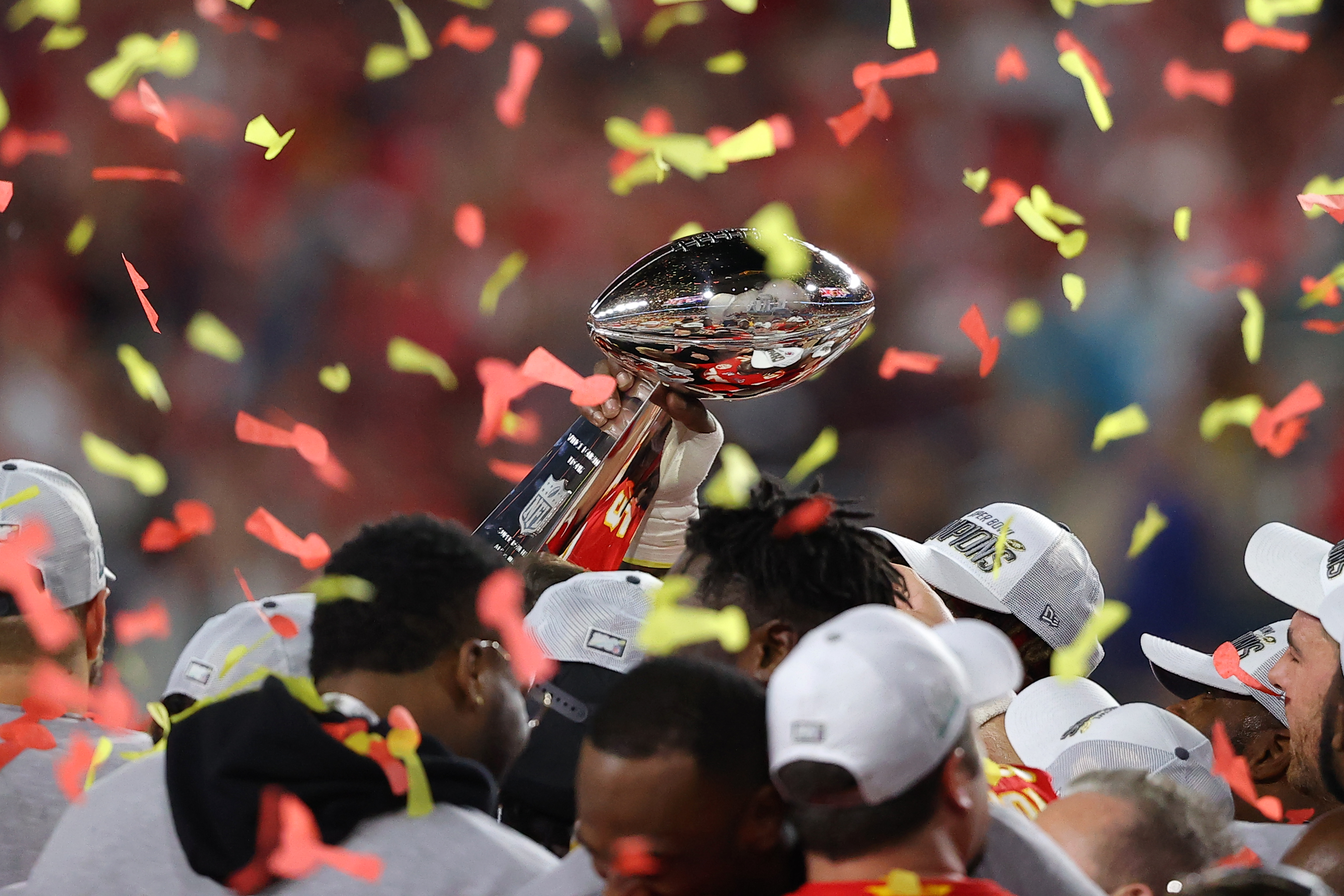 The Kansas City Chiefs celebrate with the Vince Lombardi Trophy after defeating the San Francisco 49ers 31-20 in Super Bowl LIV at Hard Rock Stadium on February 02, 2020 in Miami, Florida.