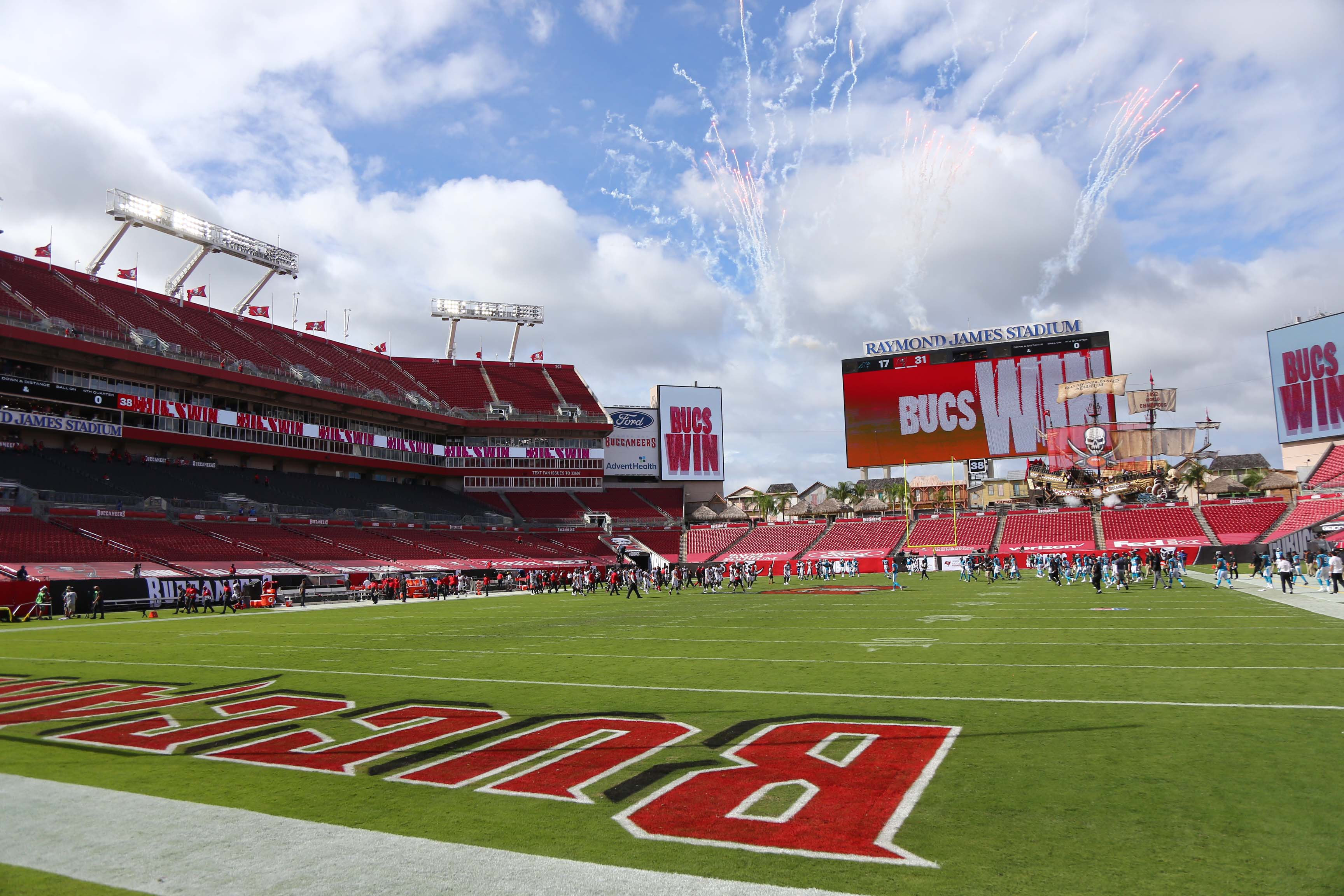 General view of the field after the Tampa Bay Buccaneers defeated the Carolina Panthers at Raymond James Stadium.
