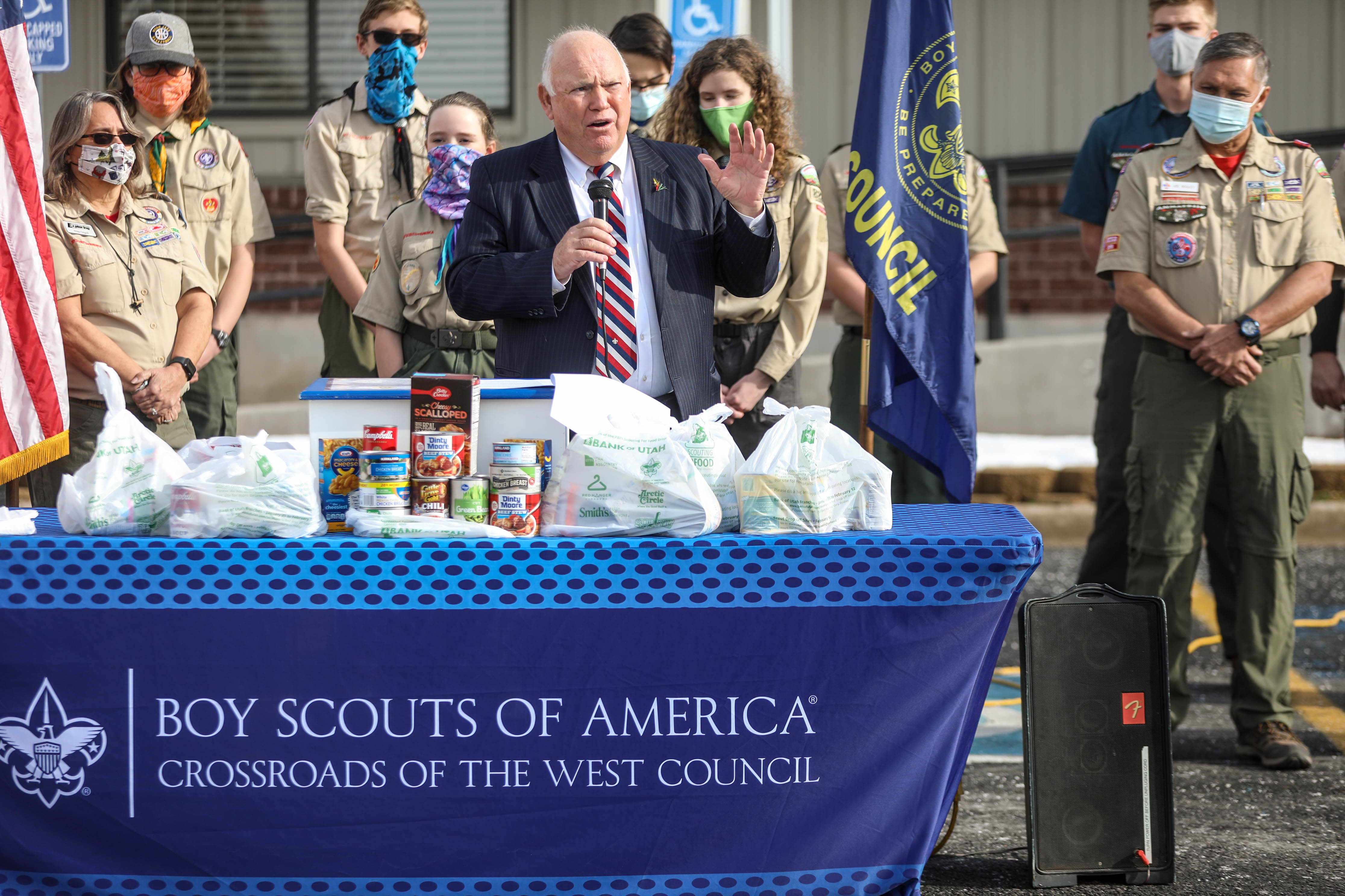 Bountiful City Mayor Randy Lewis speaks at the Boy Scouts of America Crossroads of The West Council governor's proclamation event designating Utah's official Scouting for Food Drive at the Bountiful Food Pantry in Bountiful on Monday, Jan. 25, 2021.