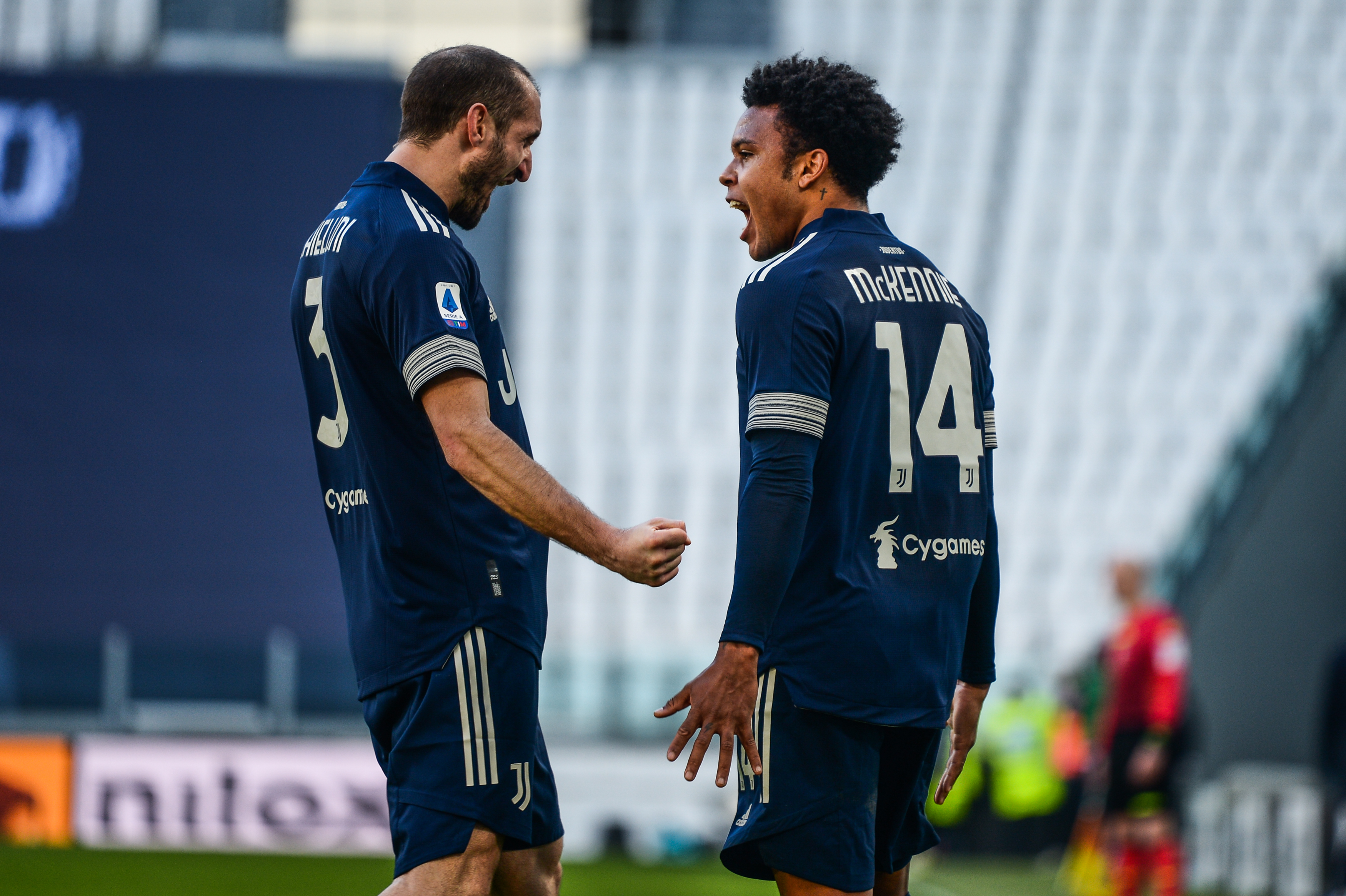 Giorgio Chiellini and Weston Mckennie of Juventus FC...