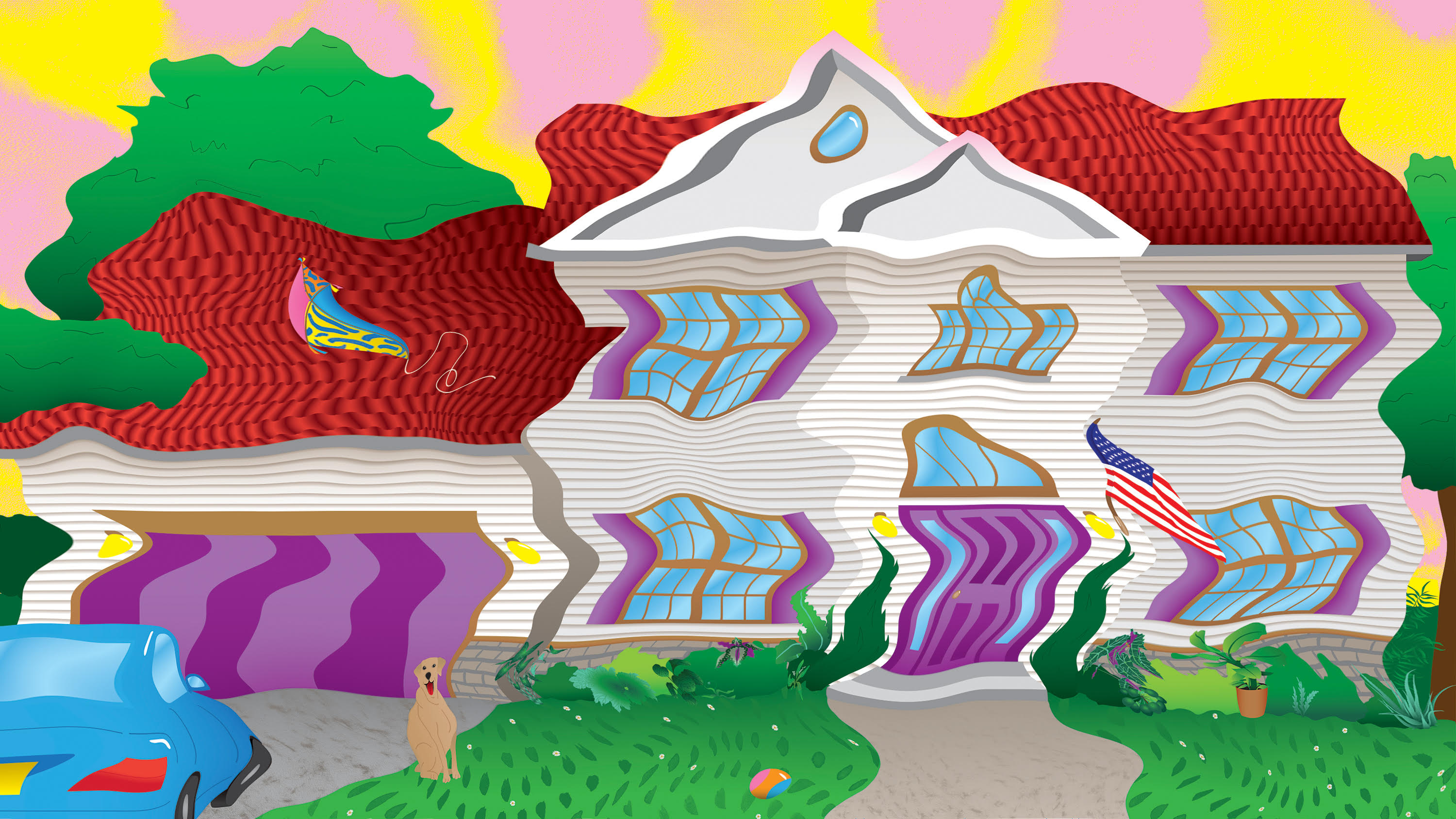A middle-class house is shown through a wavy mirage.
