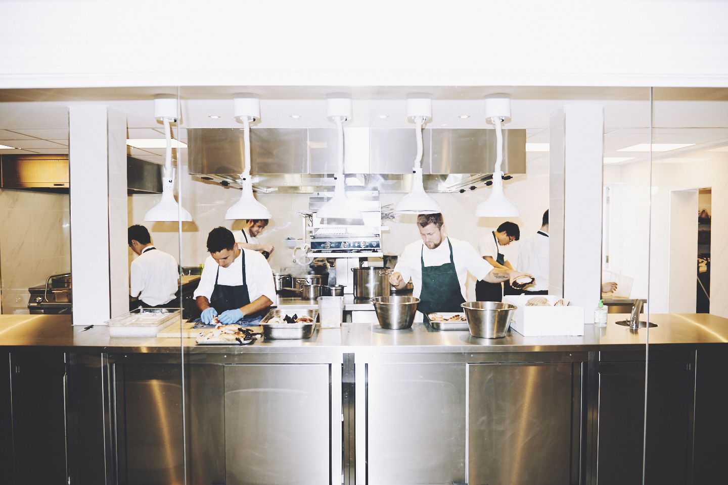 The pass at two Michelin star restaurant Core by Clare Smyth in Notting Hill, London