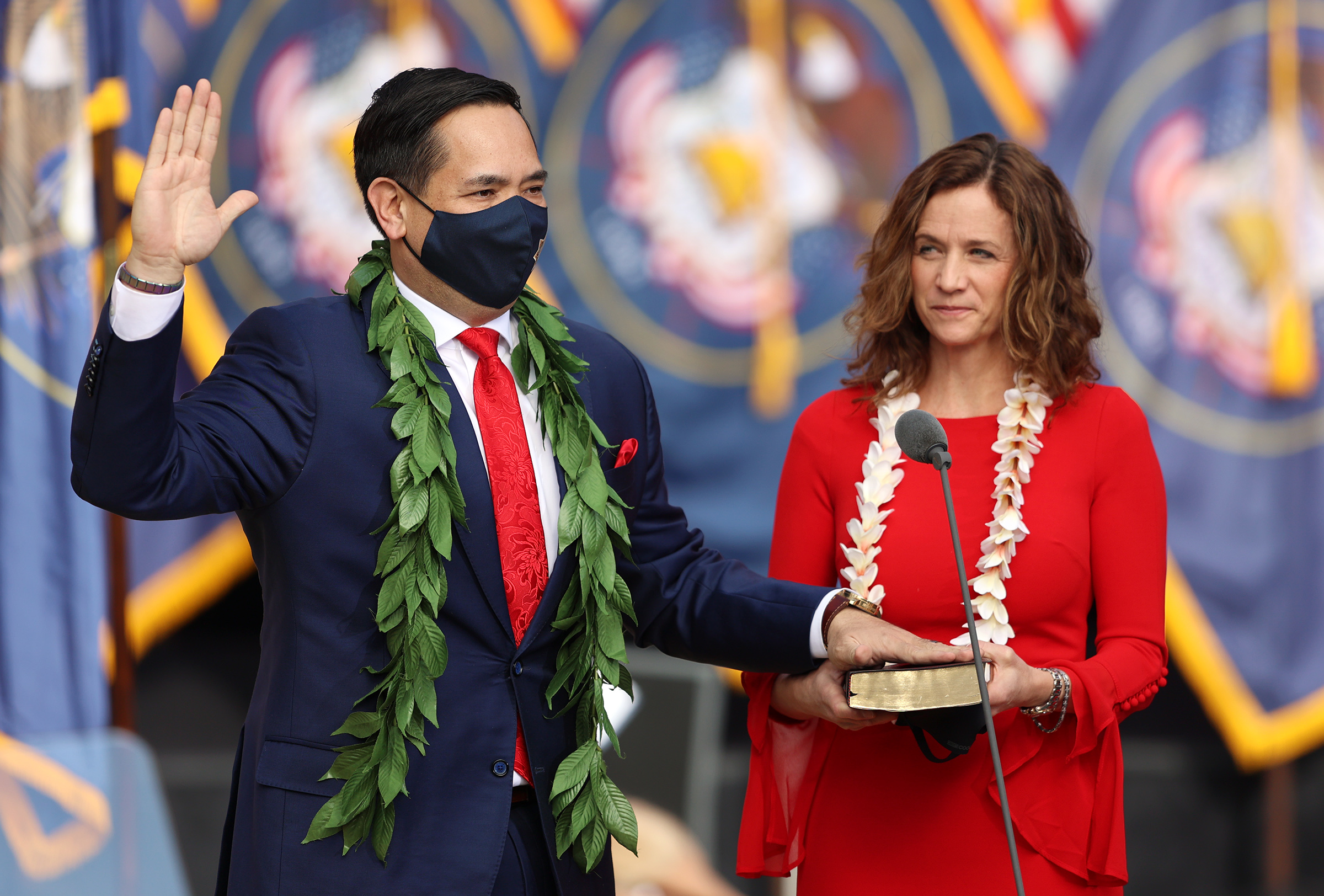 Utah Attorney General Sean Reyes takes his oath of office with his wife Saysha Reyes at his side at Tuacahn Center for the Arts in Ivins, Washington County, near St. George on Monday, Jan. 4, 2021.