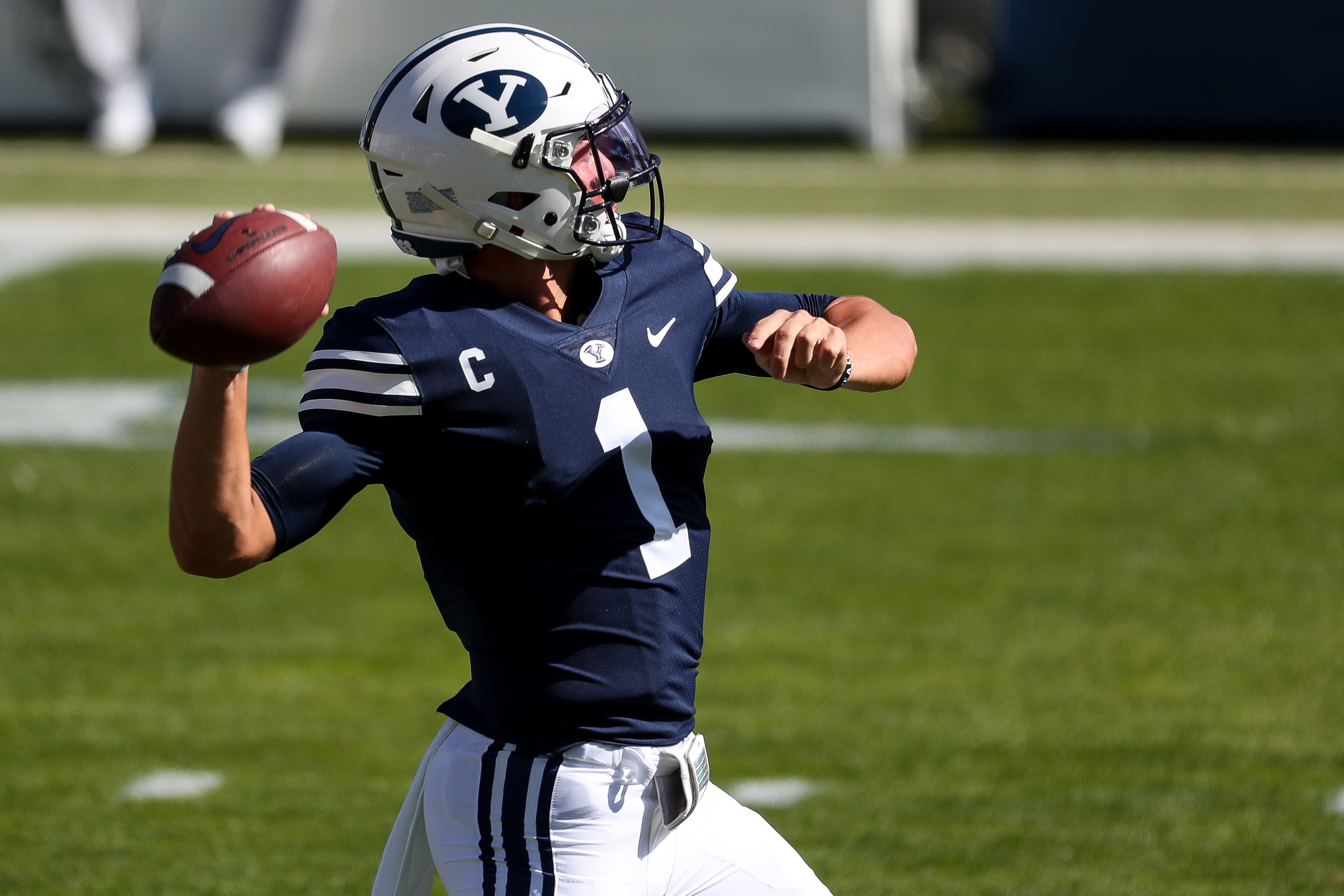 Brigham Young Cougars quarterback Zach Wilson (1) warms up before the game against UTSA at LaVell Edwards Stadium in Provo on Saturday, Oct. 10, 2020.