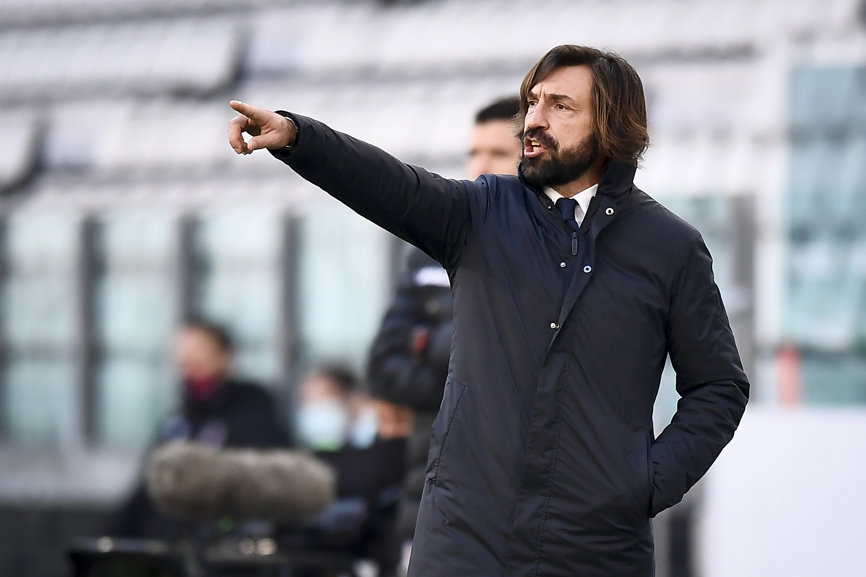 Andrea Pirlo, head coach of Juventus FC, gestures during the...