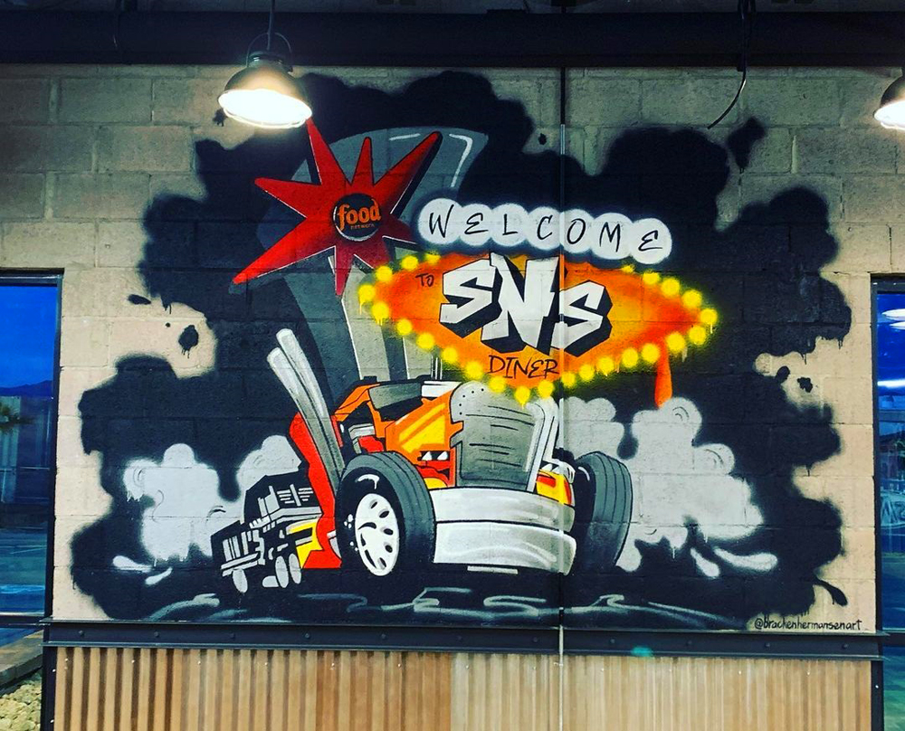 The mural by local artist Bracken Hermansen, now on display at the SNS Diner in North Las Vegas.