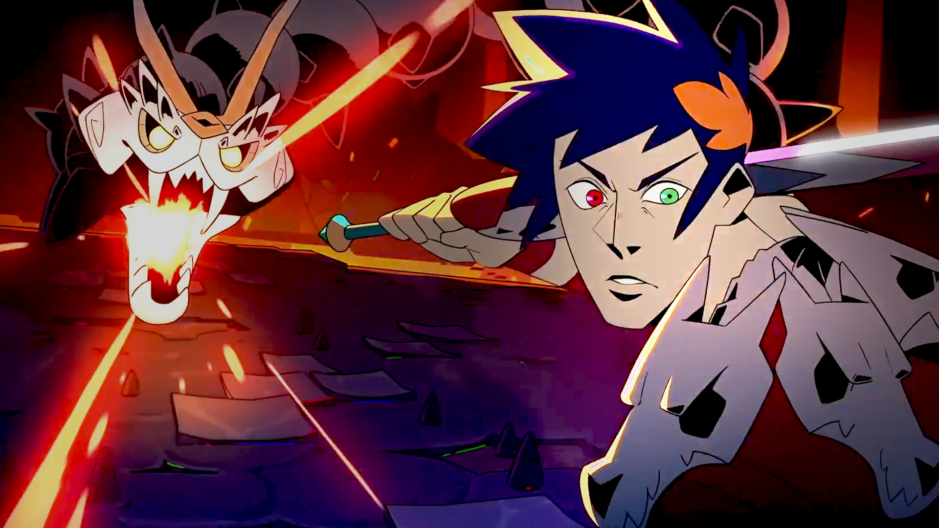 A cartoon Zagreus from the game Hades looks at the viewer with a confused face while a bone hydra behind him prepares to blast him with energy.