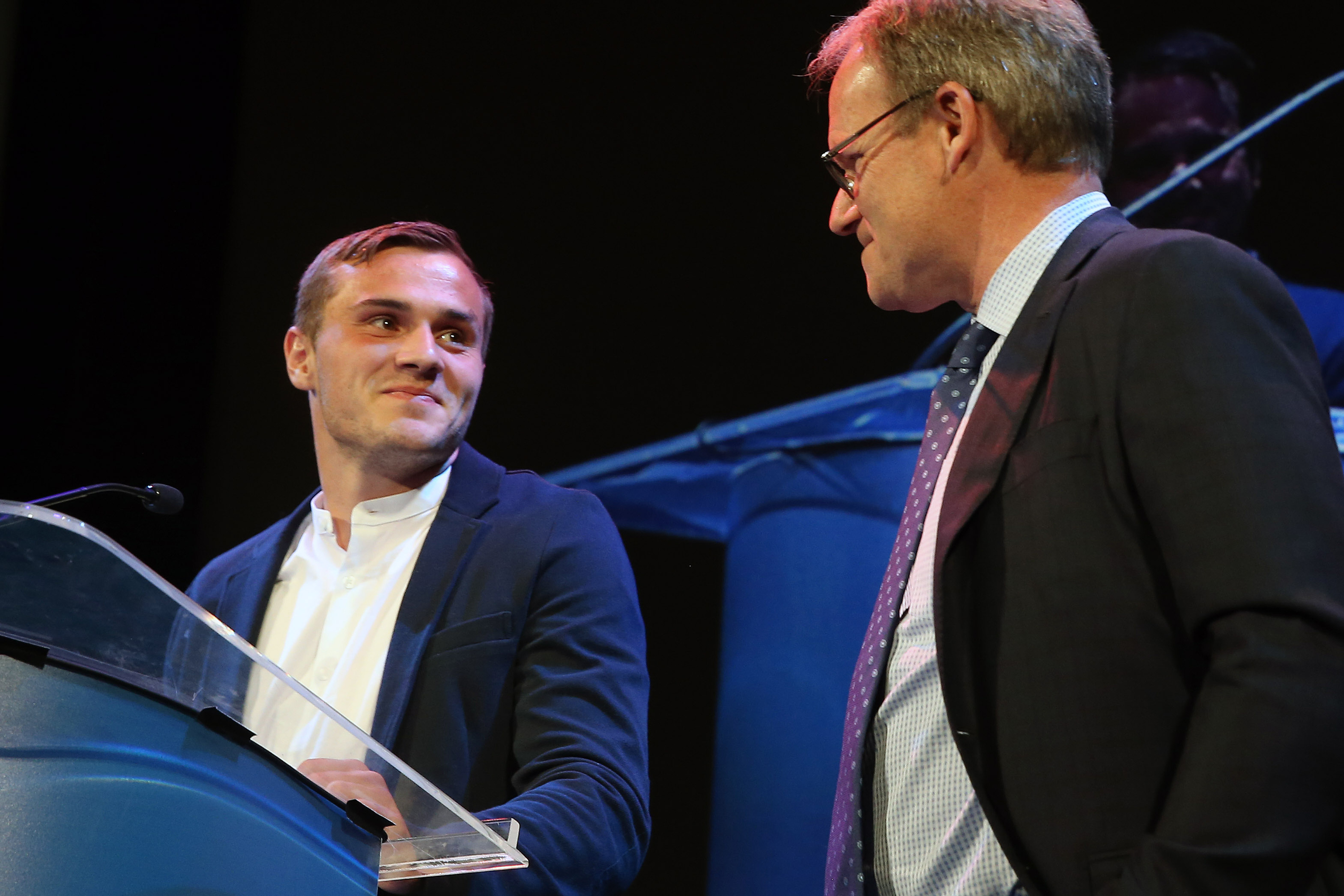 Sounders player Jordan Morris and head coach Brian Schmetzer accept the 2016 Sports Story of the Year Award for the Seattle Sounders during the MTRWestern 82nd Annual Sports Star of the Year Awards, Feb. 8, 2017, at the Paramount Theater. (GENNA MARTIN, s