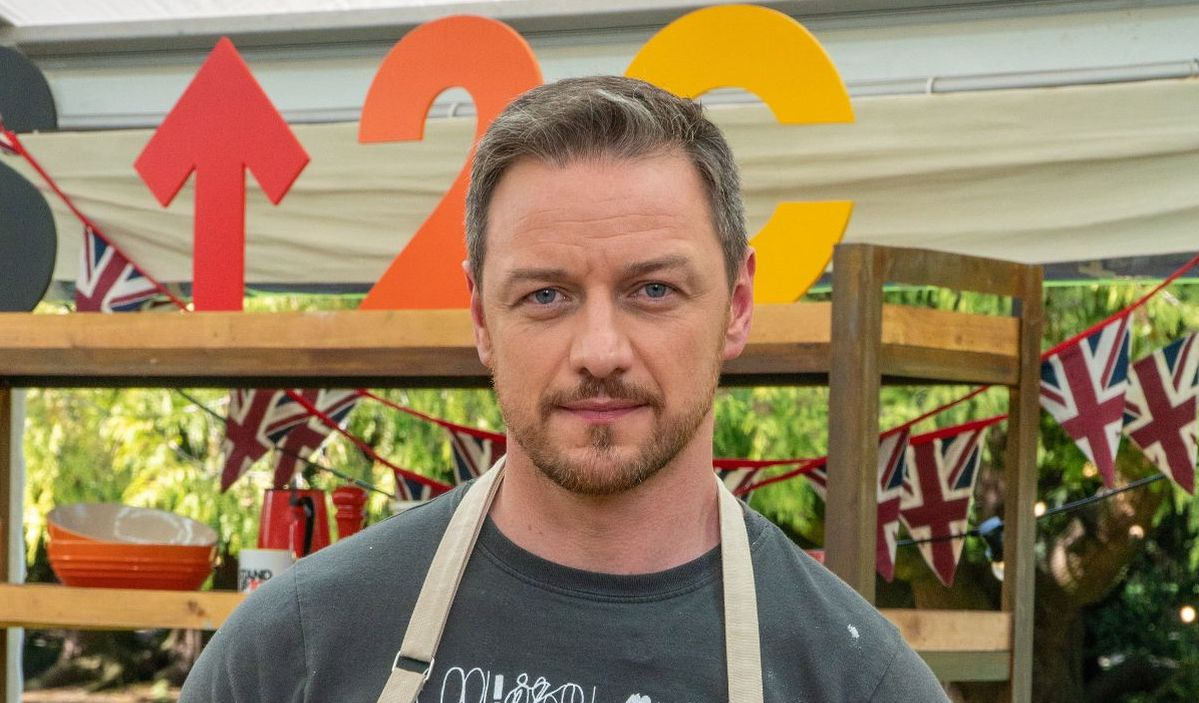 James McAvoy wears an apron the set of Great British Bake Off