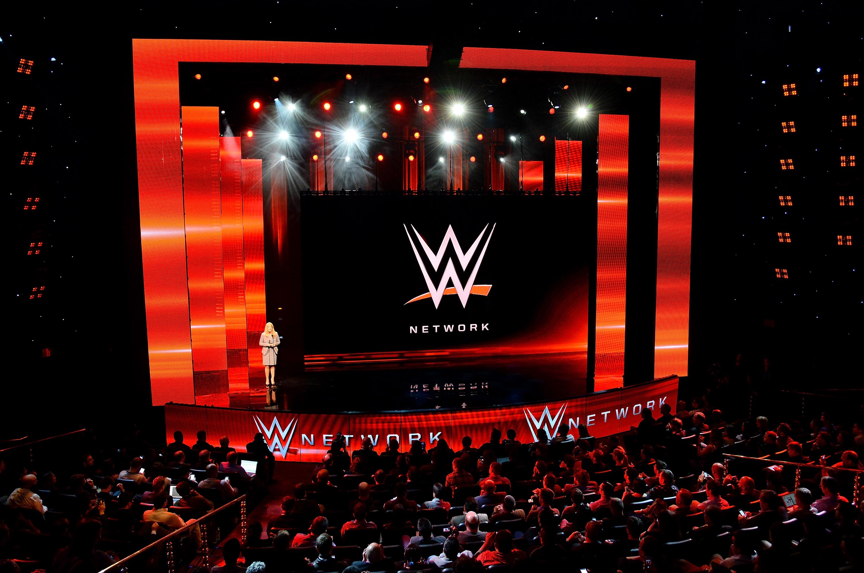 WWE首席收入和营销官Michelle Wilson在2014年1月8日在2014年1月8日在Las拉斯维加斯,内华达州的2014年国际CES宣布2014年国际CES的新闻发布会。