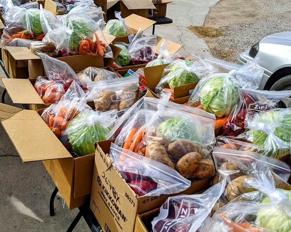Boxes filled with vegetables