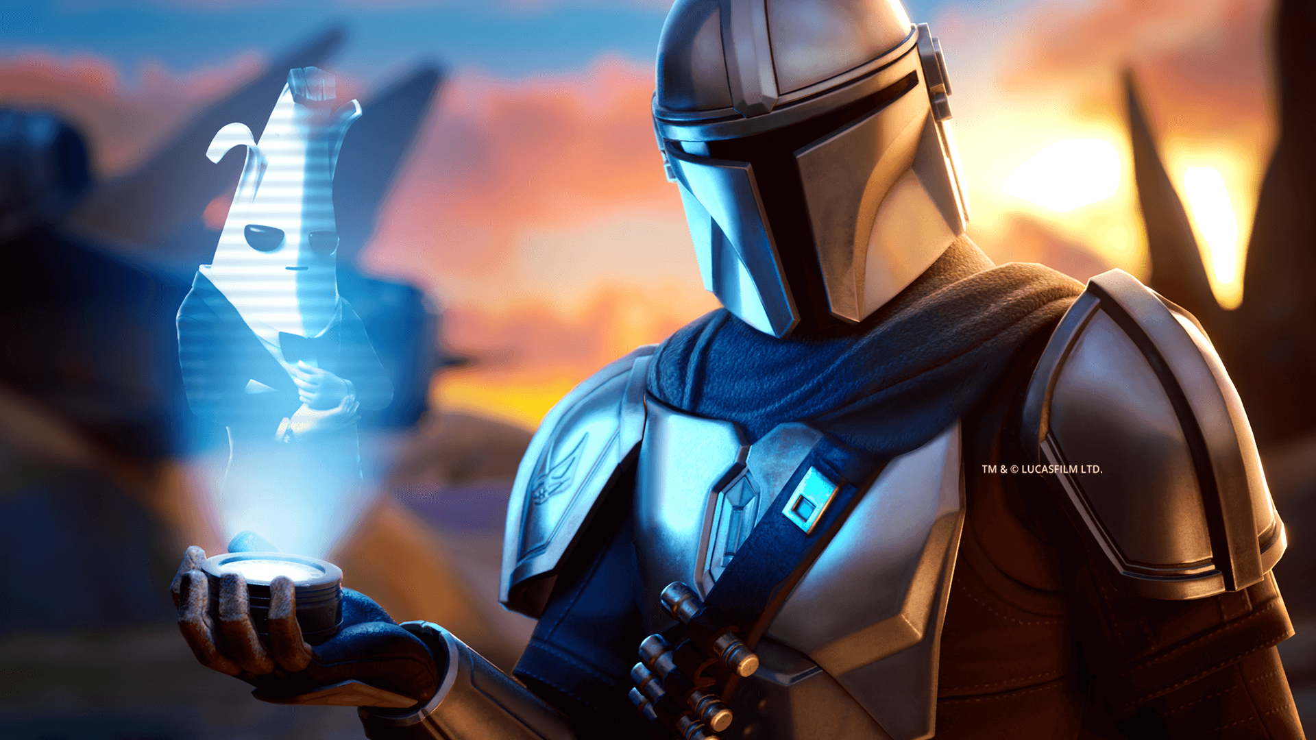 Din Djarin inspects his Fortnite target for the Mando's Bounty event