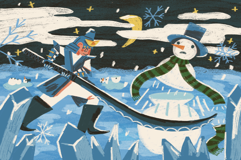 An original illustration shows a warrior fighting a snowman