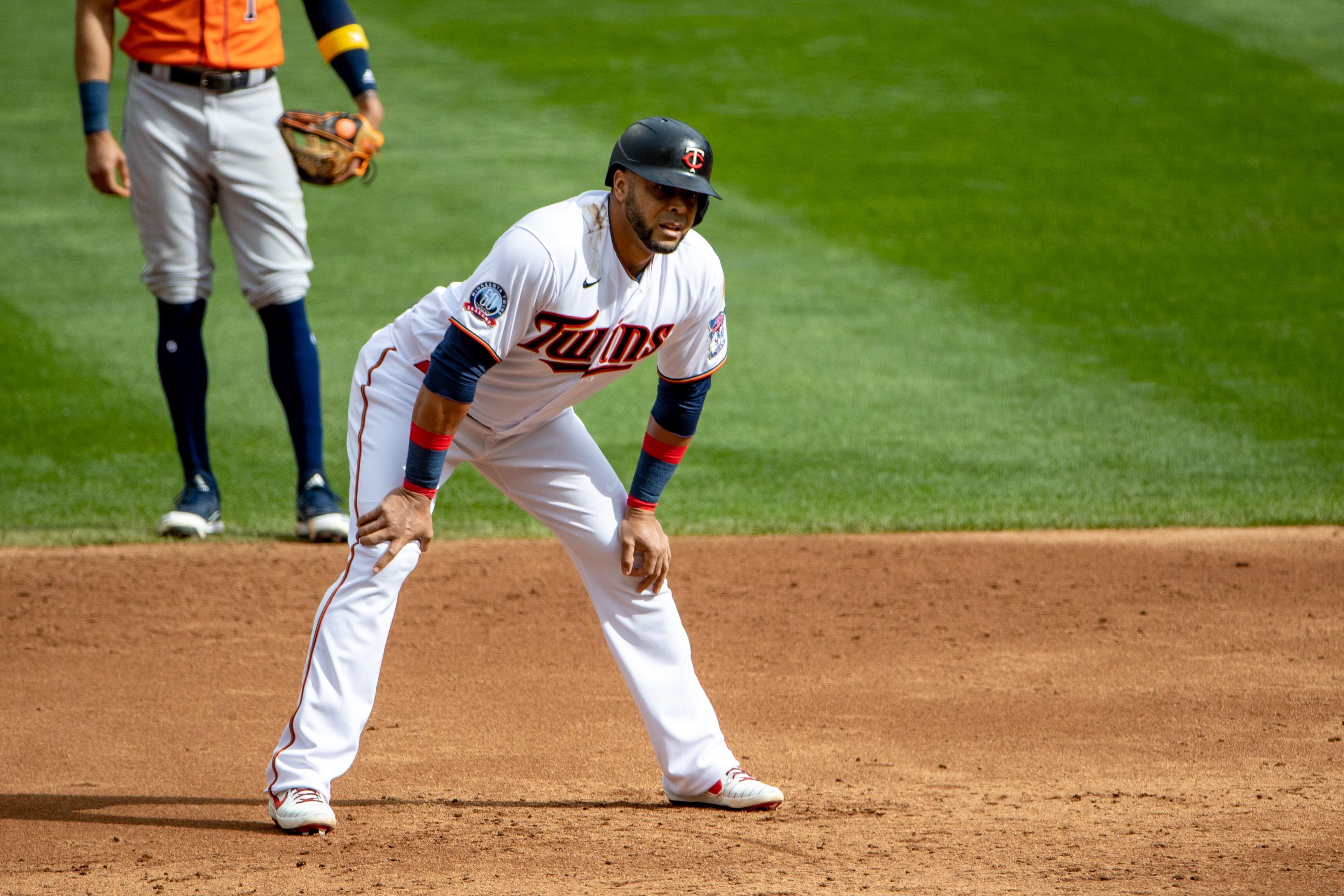 Minnesota Twins designated hitter Nelson Cruz (23) looks on after hitting an RBI double in the third inning against the Houston Astros at Target Field