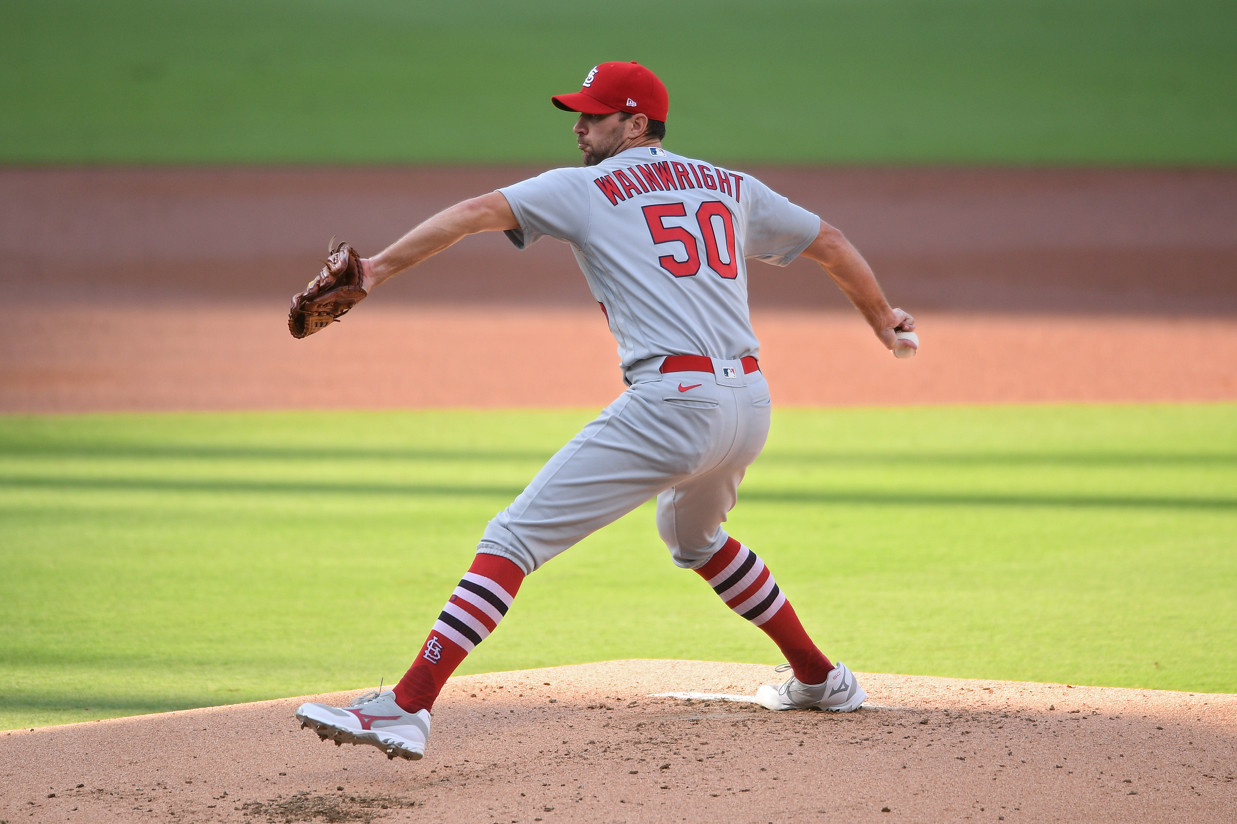 St. Louis Cardinals starting pitcher Adam Wainwright (50) pitches during the first inning against the San Diego Padresat Petco Park.