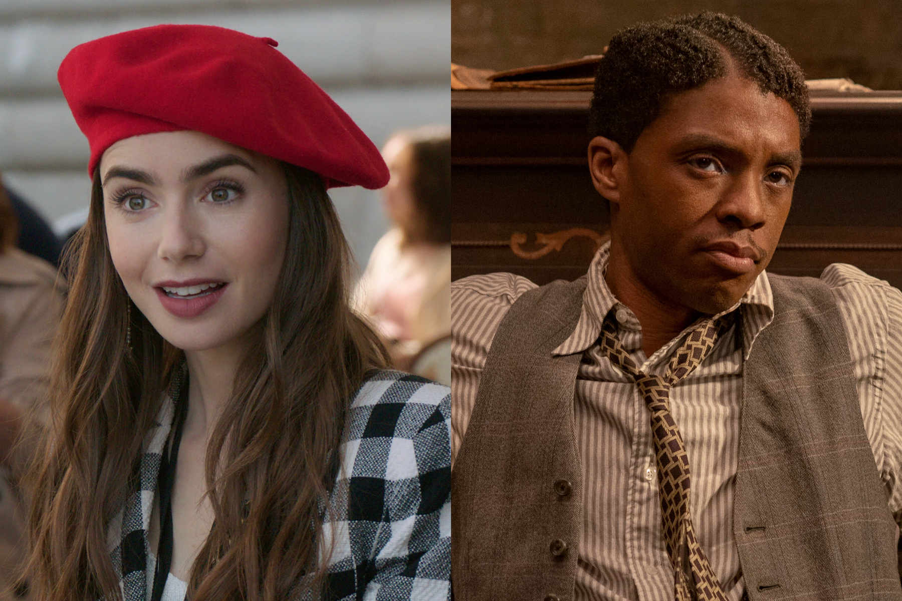 A split screen with Lily Collins in a beret and Chadwick Boseman in a vest, leaning and looking quizzical.