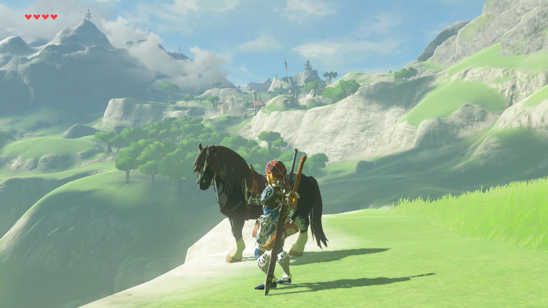 The Legend of Zelda: Breath of the Wild - Link and a black horse