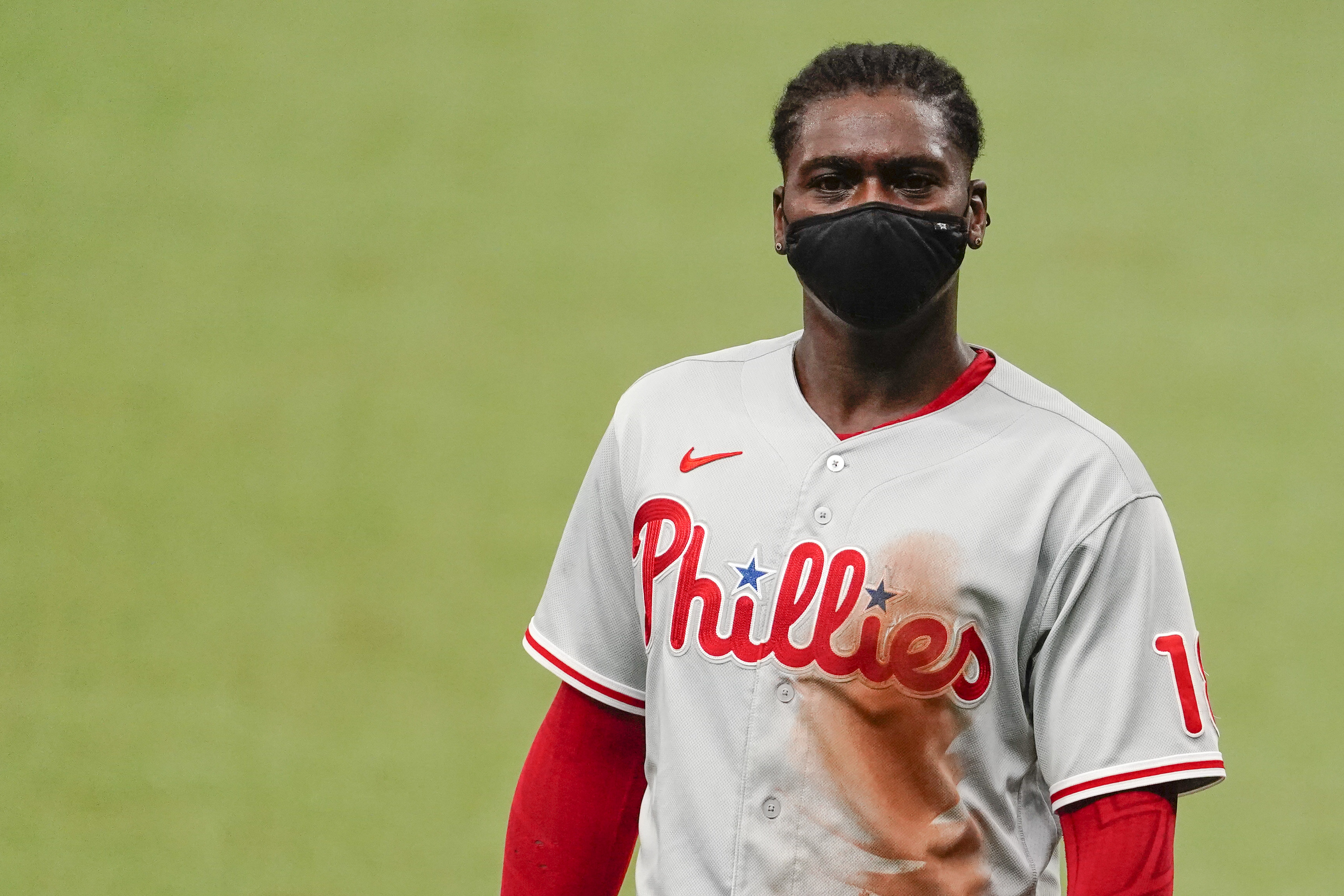 Didi Gregorius #18 of the Philadelphia Phillies looks on during the fourth inning against the Tampa Bay Rays at Tropicana Field on September 27, 2020 in St Petersburg, Florida.