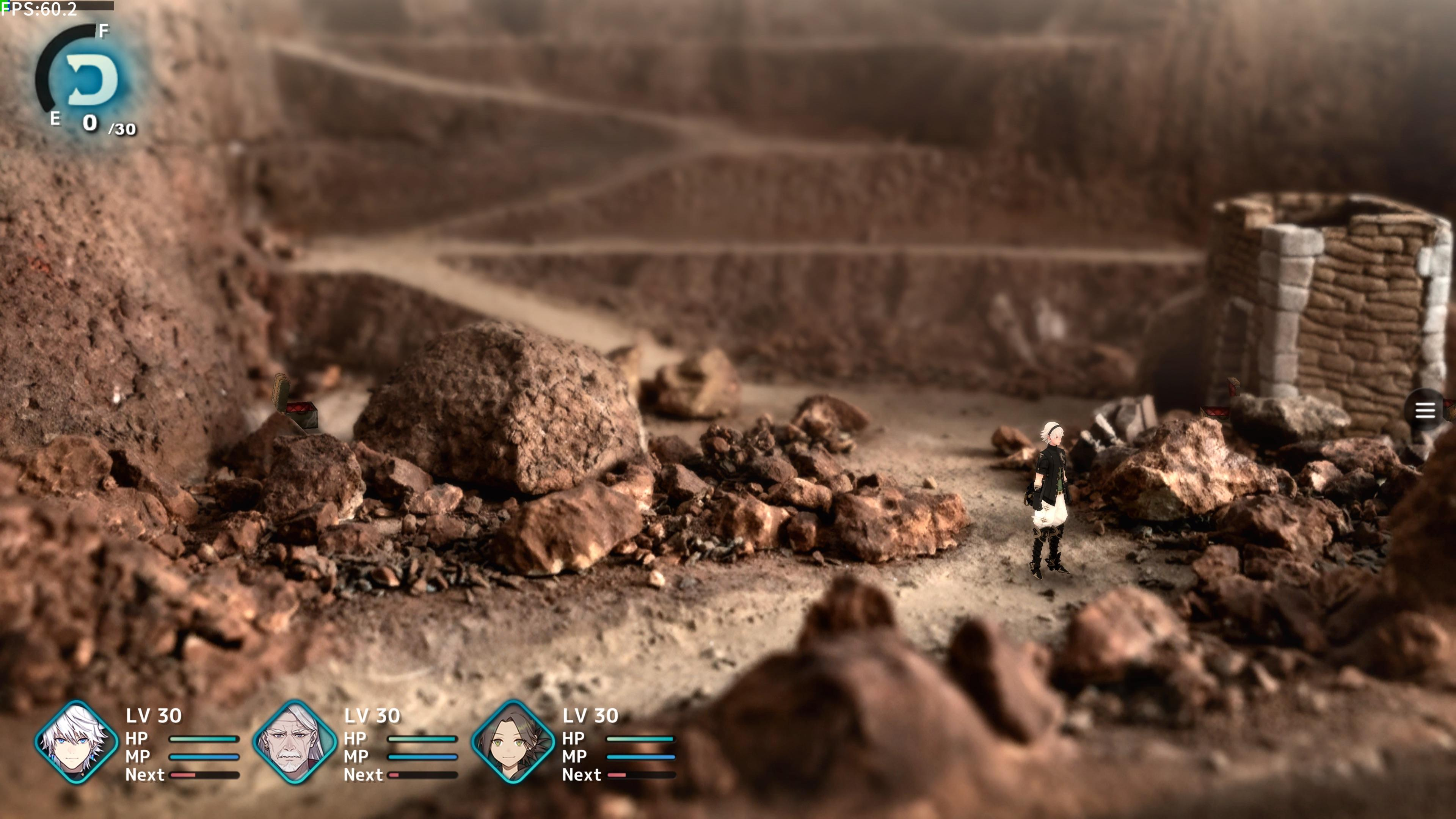 Fantasian - a character stands in the middle of a diorama, representing an elaborate 3D canyon.