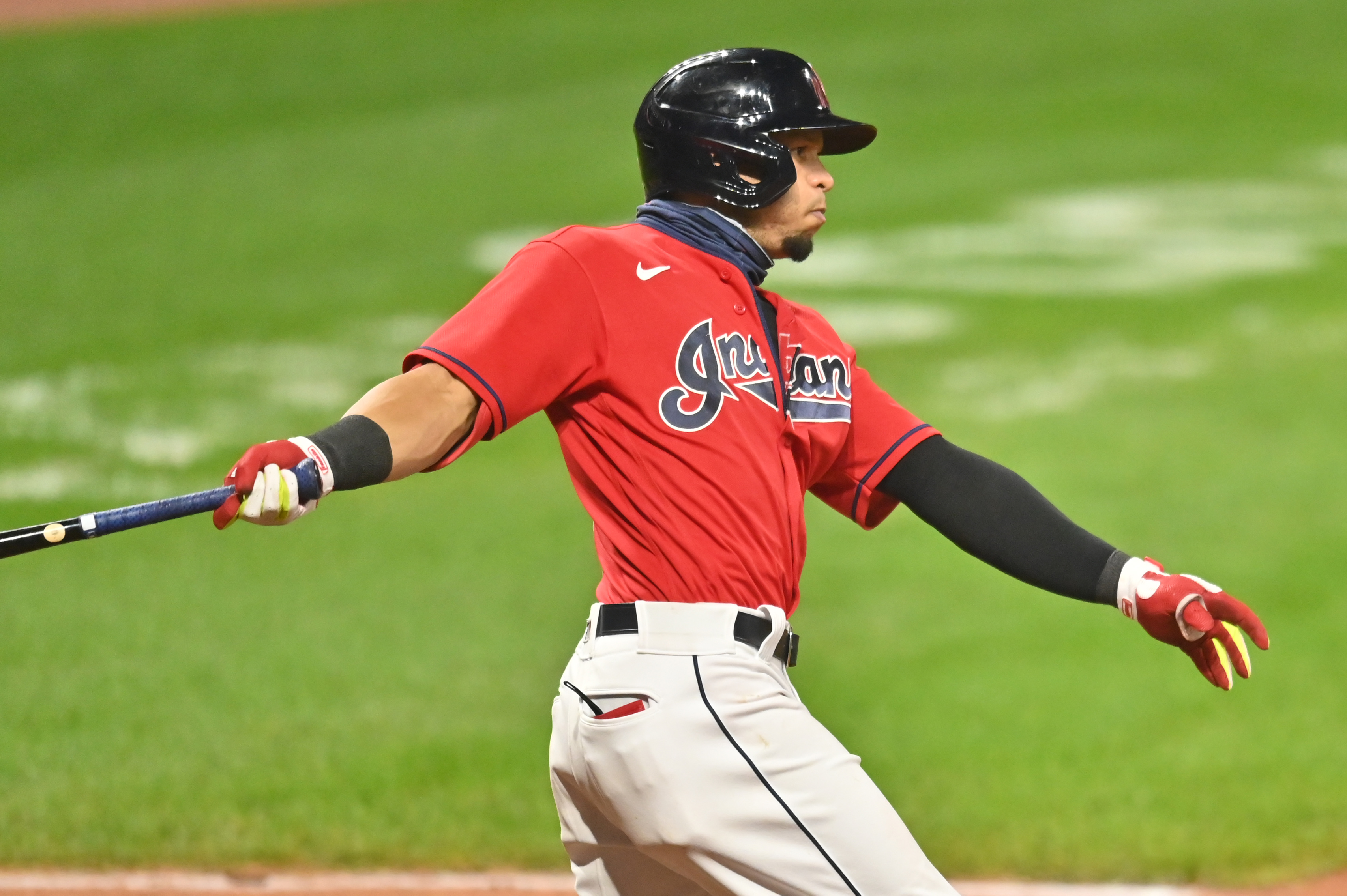 Cleveland Indians second baseman Cesar Hernandez (7) hits a game-winning RBI single during the ninth inning against the Pittsburgh Pirates at Progressive Field.