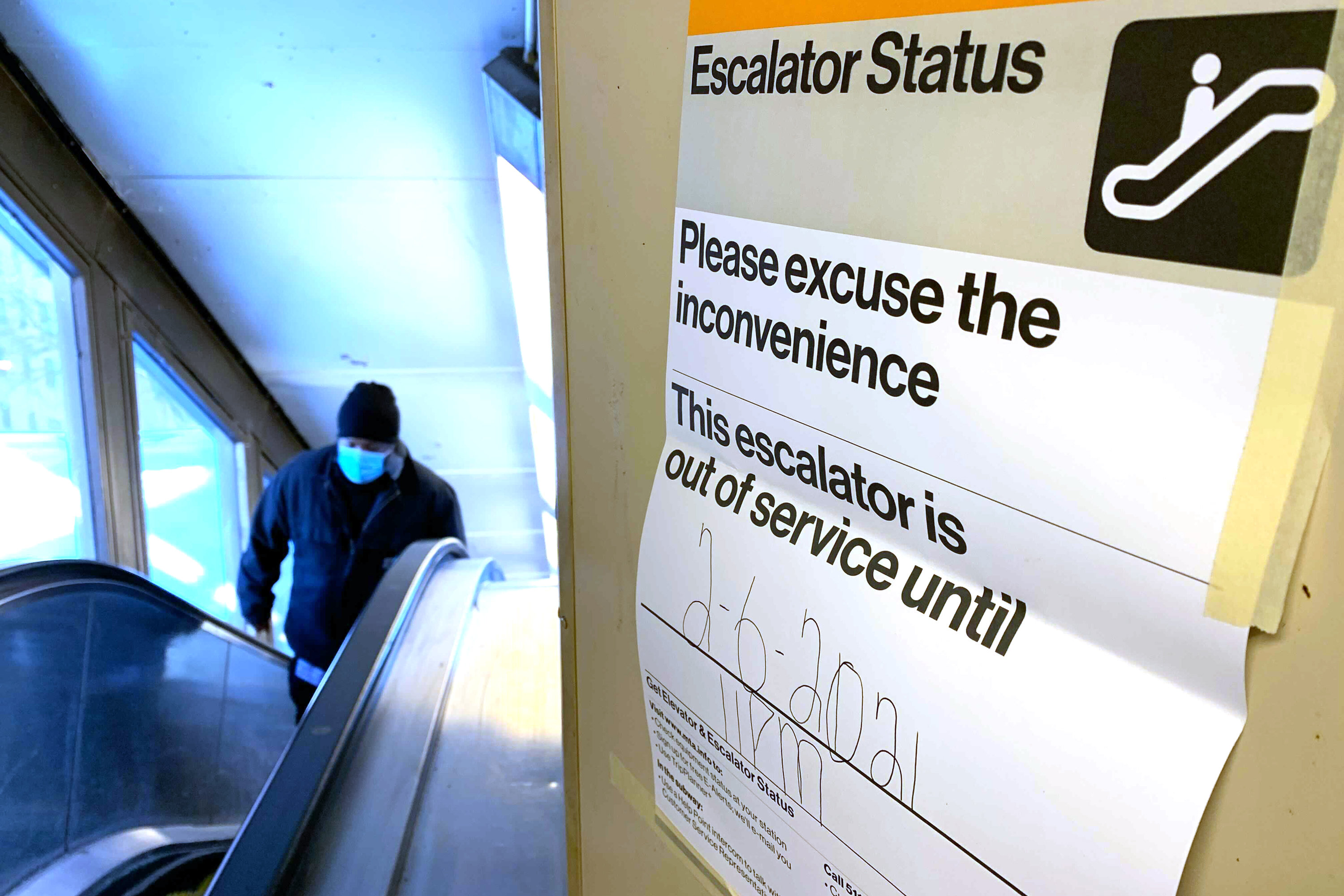 As escalator at the 1 train 125th Street stop was out of service Thursday, Feb. 4, 2021.