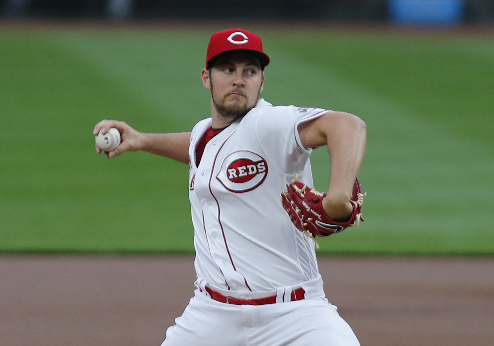 Cincinnati Reds starting pitcher Trevor Bauer (27) throws against the Milwaukee Brewers during the first inning at Great American Ball Park.