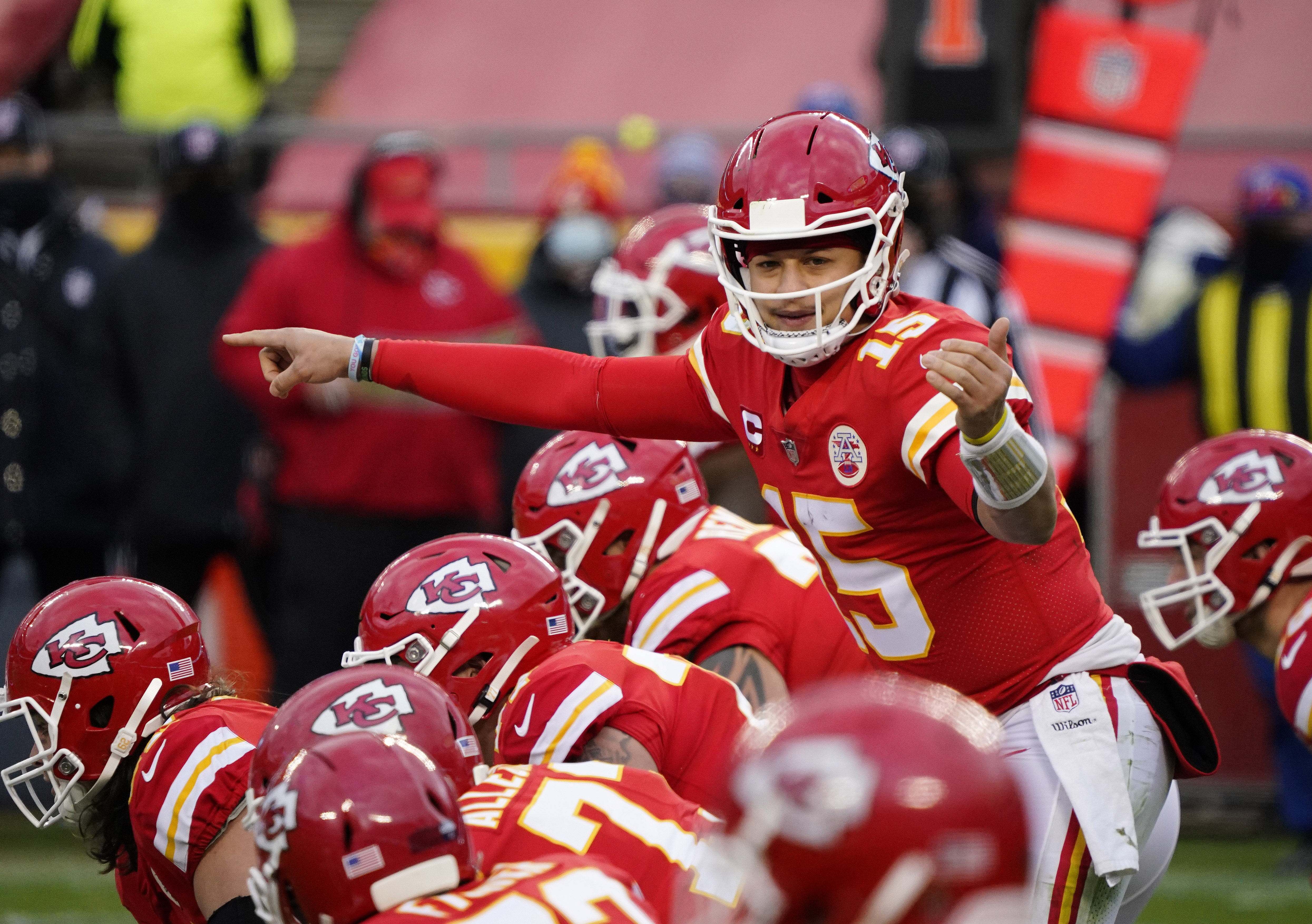 Kansas City Chiefs quarterback Patrick Mahomes before the snap against the Cleveland Browns during the second half in the AFC Divisional Round playoff game at Arrowhead Stadium.