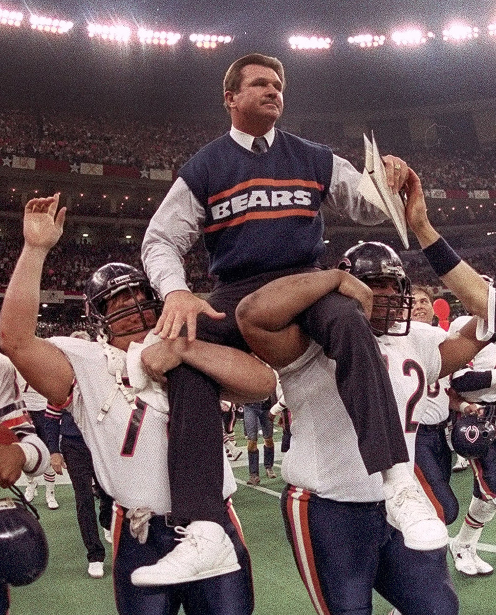 Chicago Bears coach Mike Ditka is carried off the field after leading the team to a win over the New England Patriots in Super Bowl XX in New Orleans on Jan. 26, 1986. There is a movement to draft the tough-talking Ditka to to make a run for the U.S. Senate in Illinois on the Republican ticket replacing Jack Ryan, who dropped out of the race over embarrassing sex club allegations. Ditka said a Senate run is an exciting idea but he hasn't yet made up his mind.