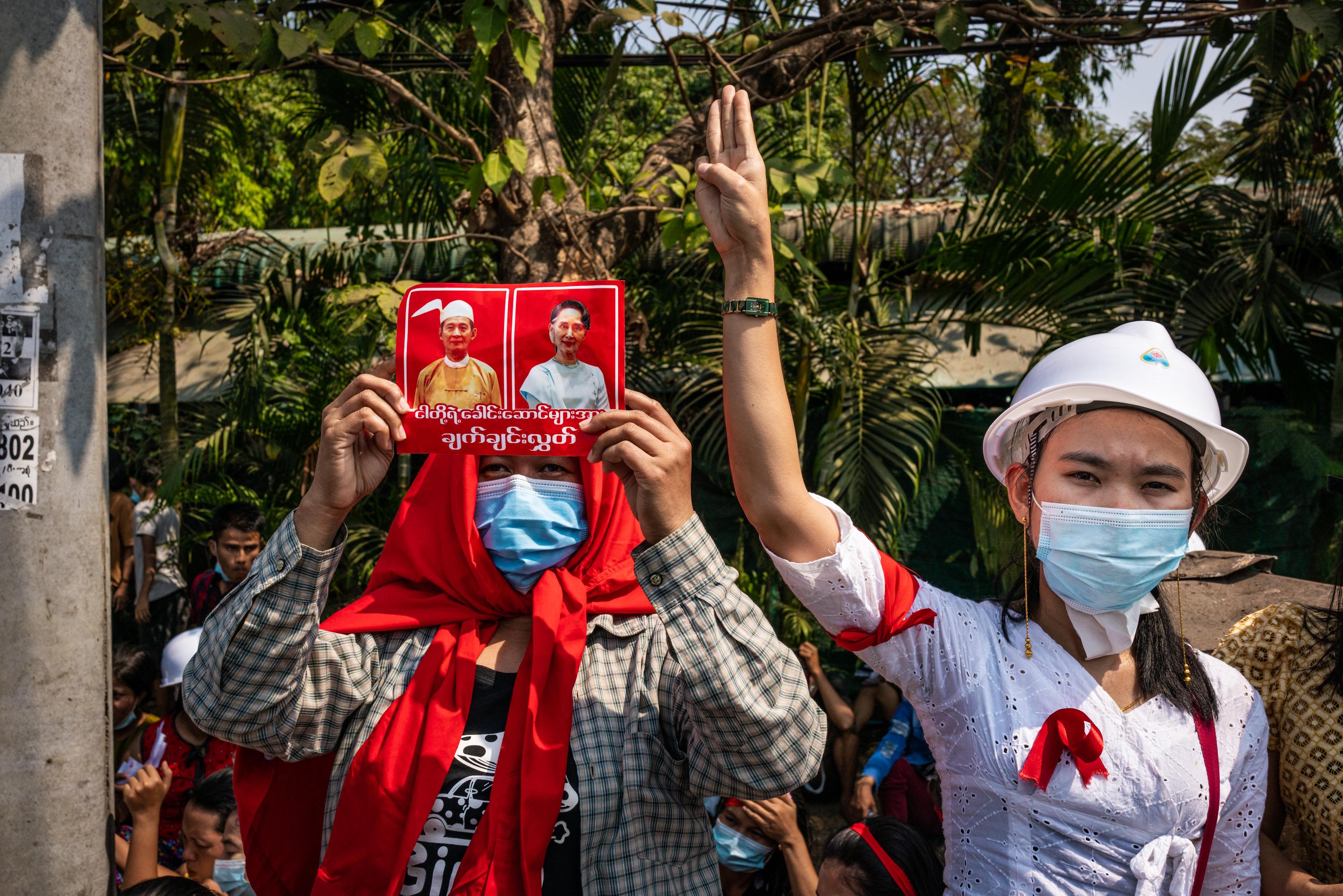 Myanmar People Stage Protests As Internet Is Cut