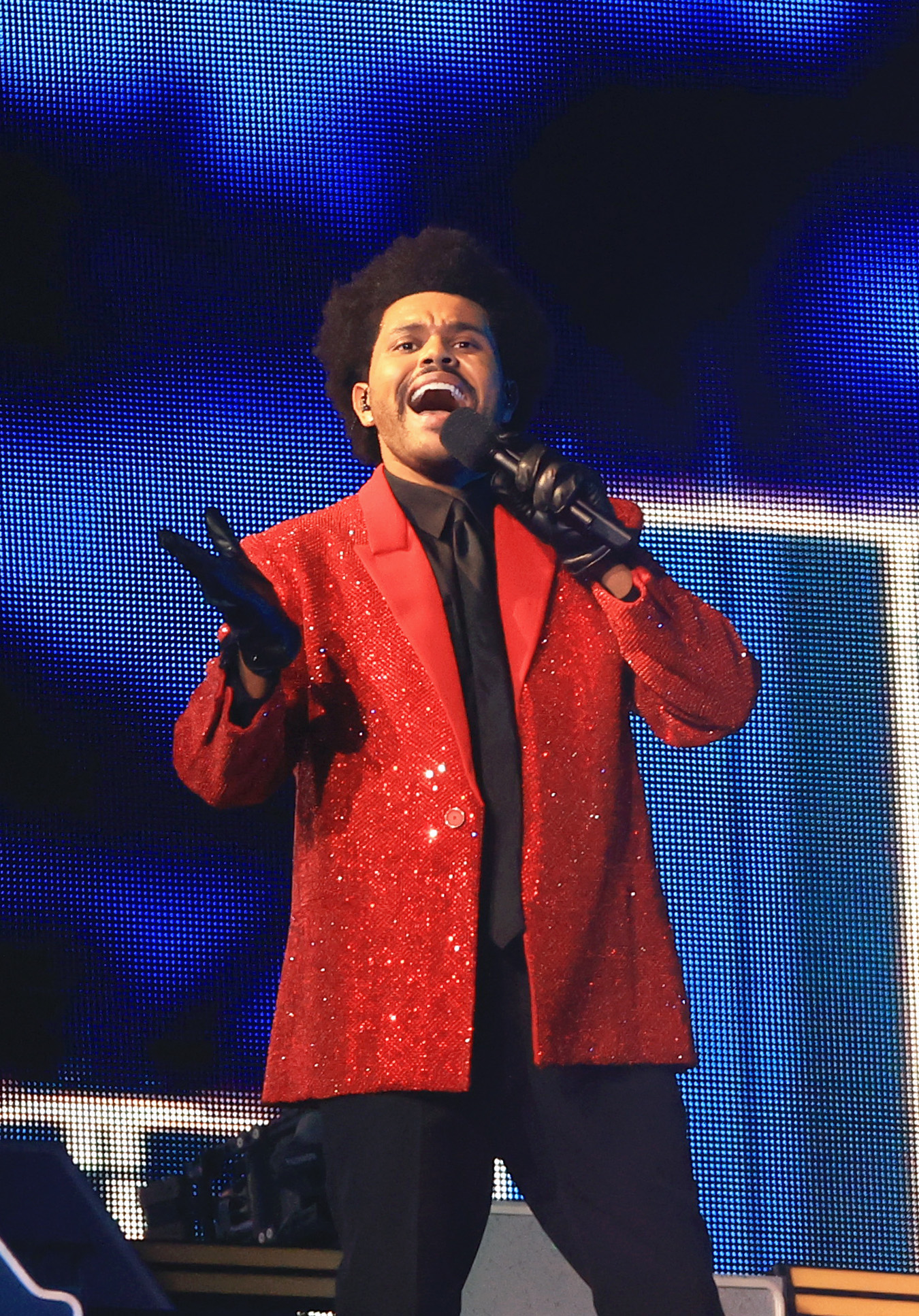 The Weeknd performs the 2021 Super Bowl halftime show